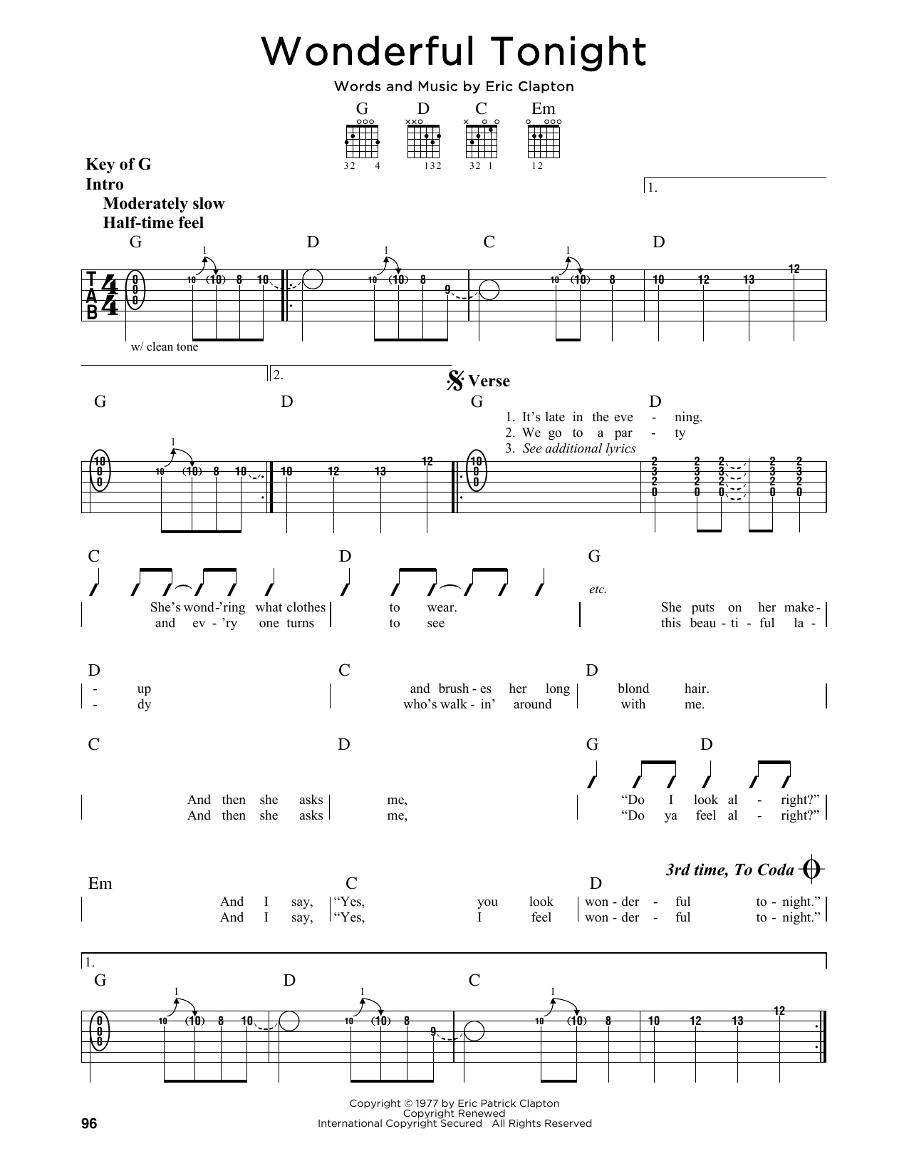 Partition autre Wonderful Tonight de Eric Clapton - Tablature Guitare Lead