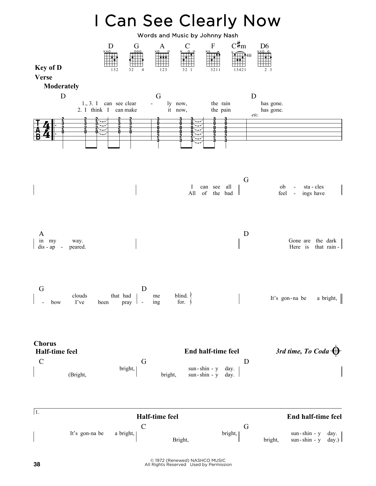 Partition autre I Can See Clearly Now de Jimmy Cliff - Tablature Guitare Lead