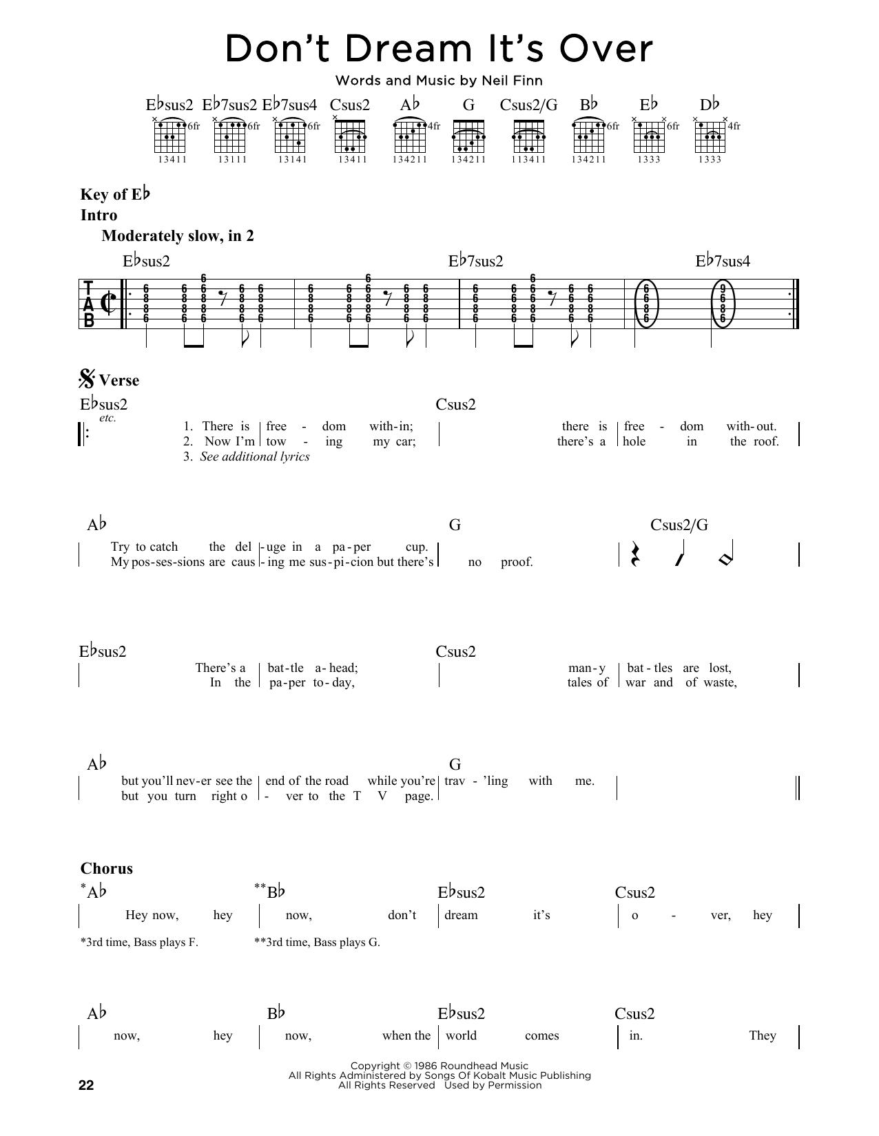 Partition autre Don't Dream It's Over de Crowded House - Tablature Guitare Lead
