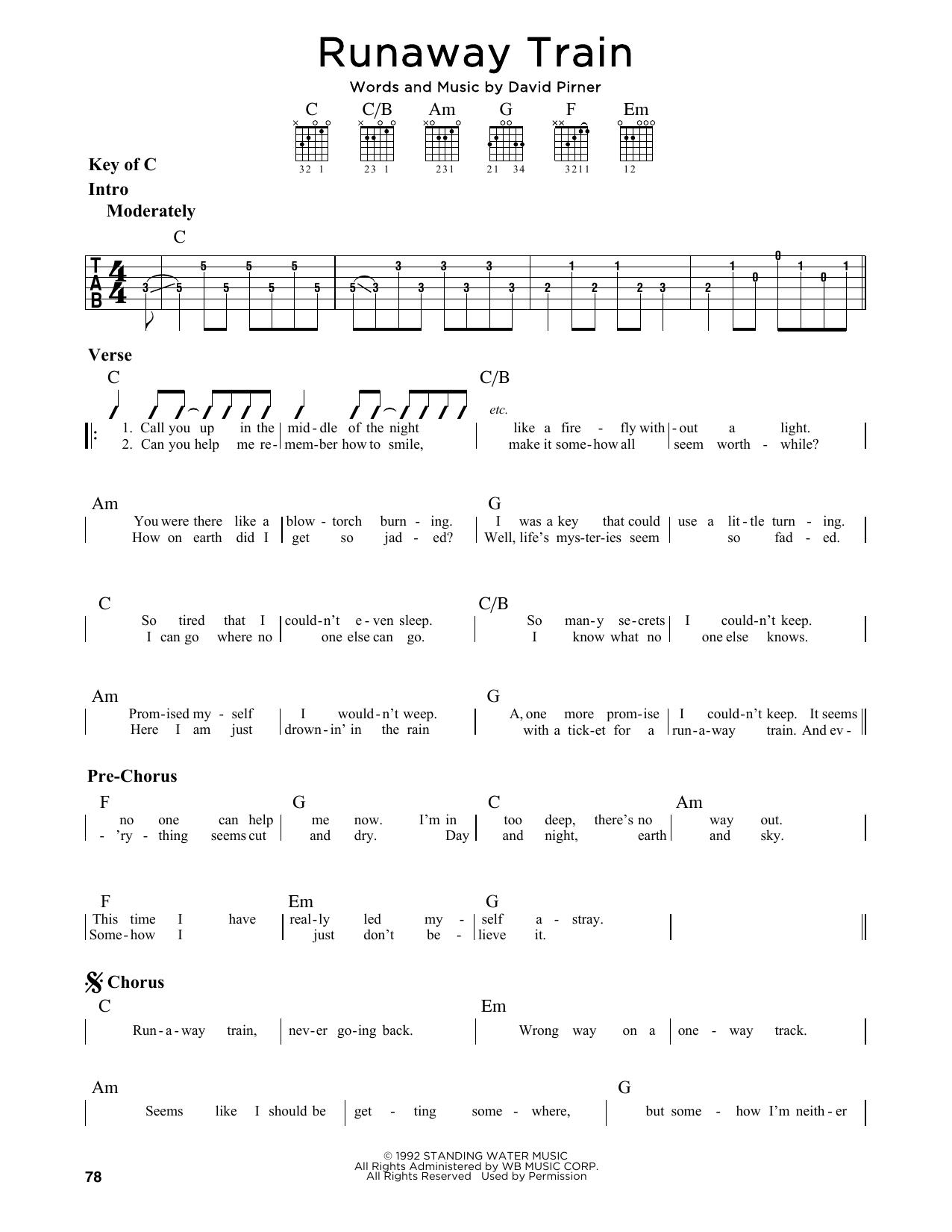 Partition autre Runaway Train de Soul Asylum - Tablature Guitare Lead