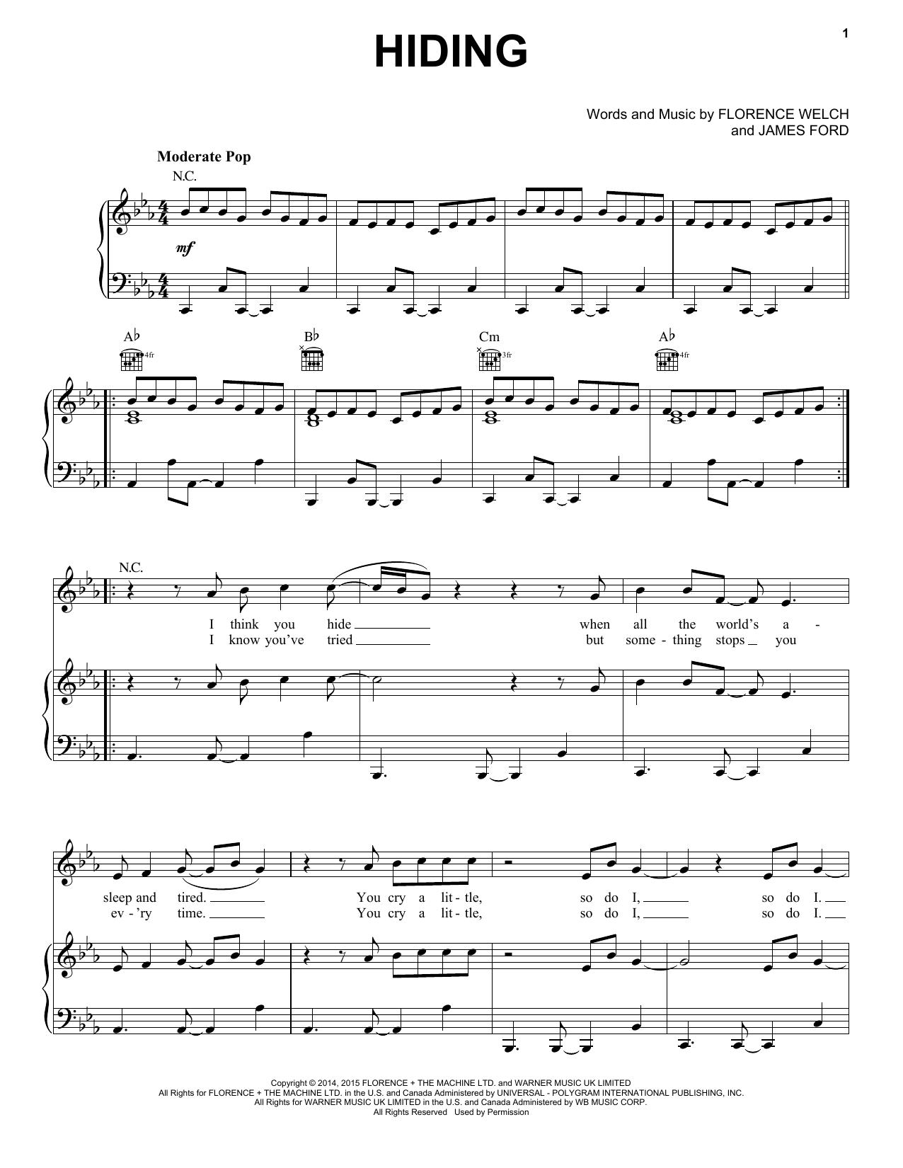 Partition piano Hiding de Florence And The Machine - Piano Voix Guitare (Mélodie Main Droite)