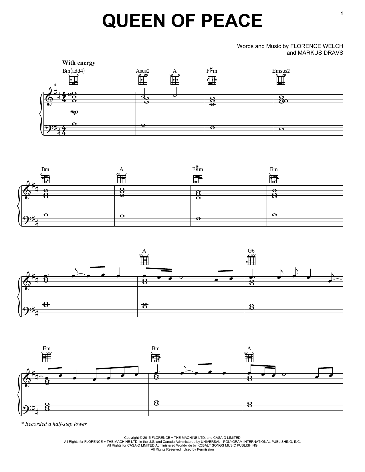 Partition piano Queen Of Peace de Florence And The Machine - Piano Voix Guitare (Mélodie Main Droite)