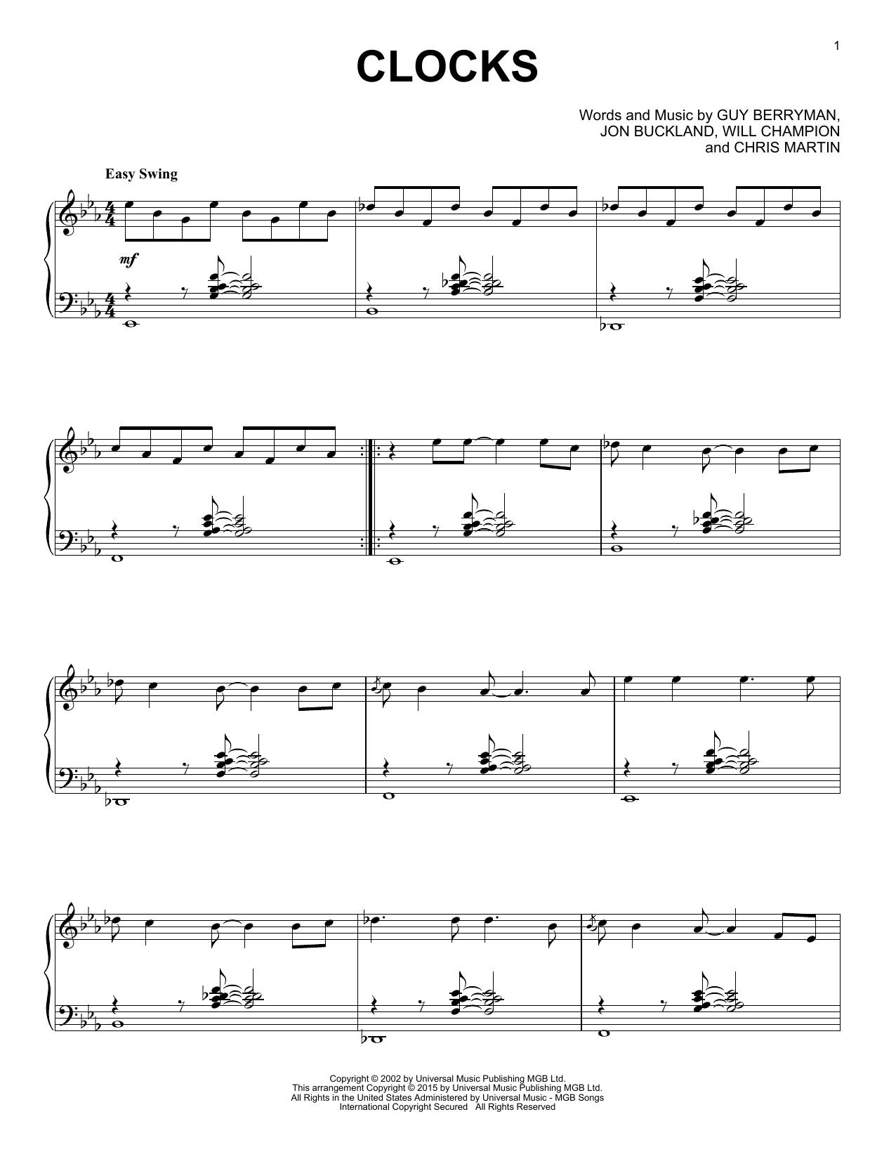 Partition piano Clocks de Coldplay - Piano Solo