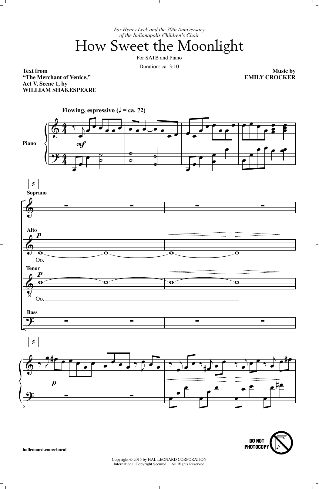 Partition chorale How Sweet The Moonlight de Emily Crocker - SATB