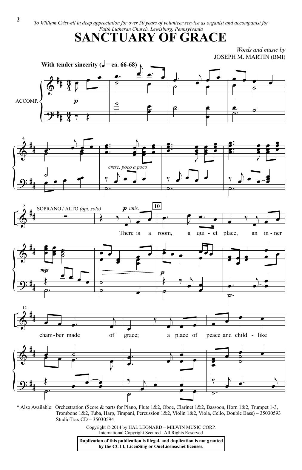 Partition chorale Sanctuary Of Grace de Joseph M. Martin - SATB