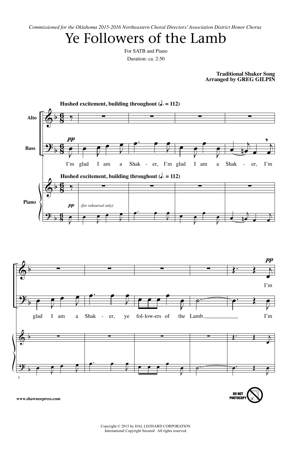 Partition chorale Ye Followers Of The Lamb (arr. Greg Gilpin) de Traditional - SATB
