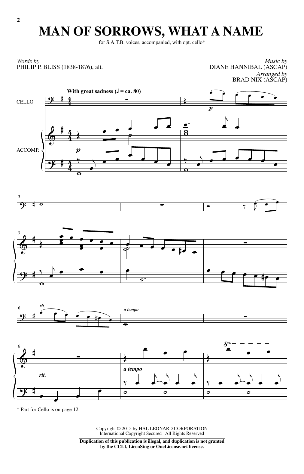 Partition chorale Man Of Sorrows, What A Name de Diane Hannibal - SATB