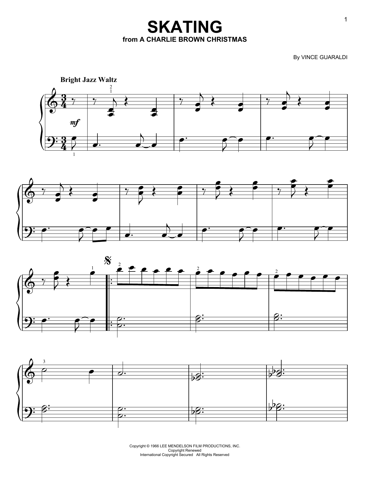 Partition piano Skating de Vince Guaraldi - Piano Facile
