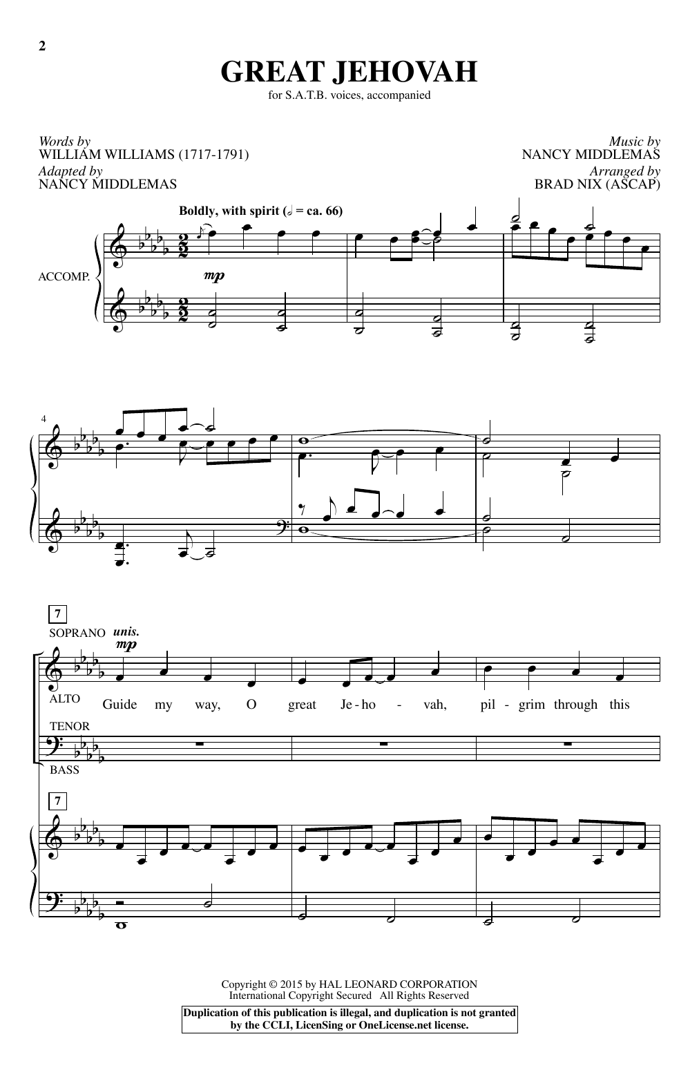 Partition chorale Great Jehovah de William Williams - SATB