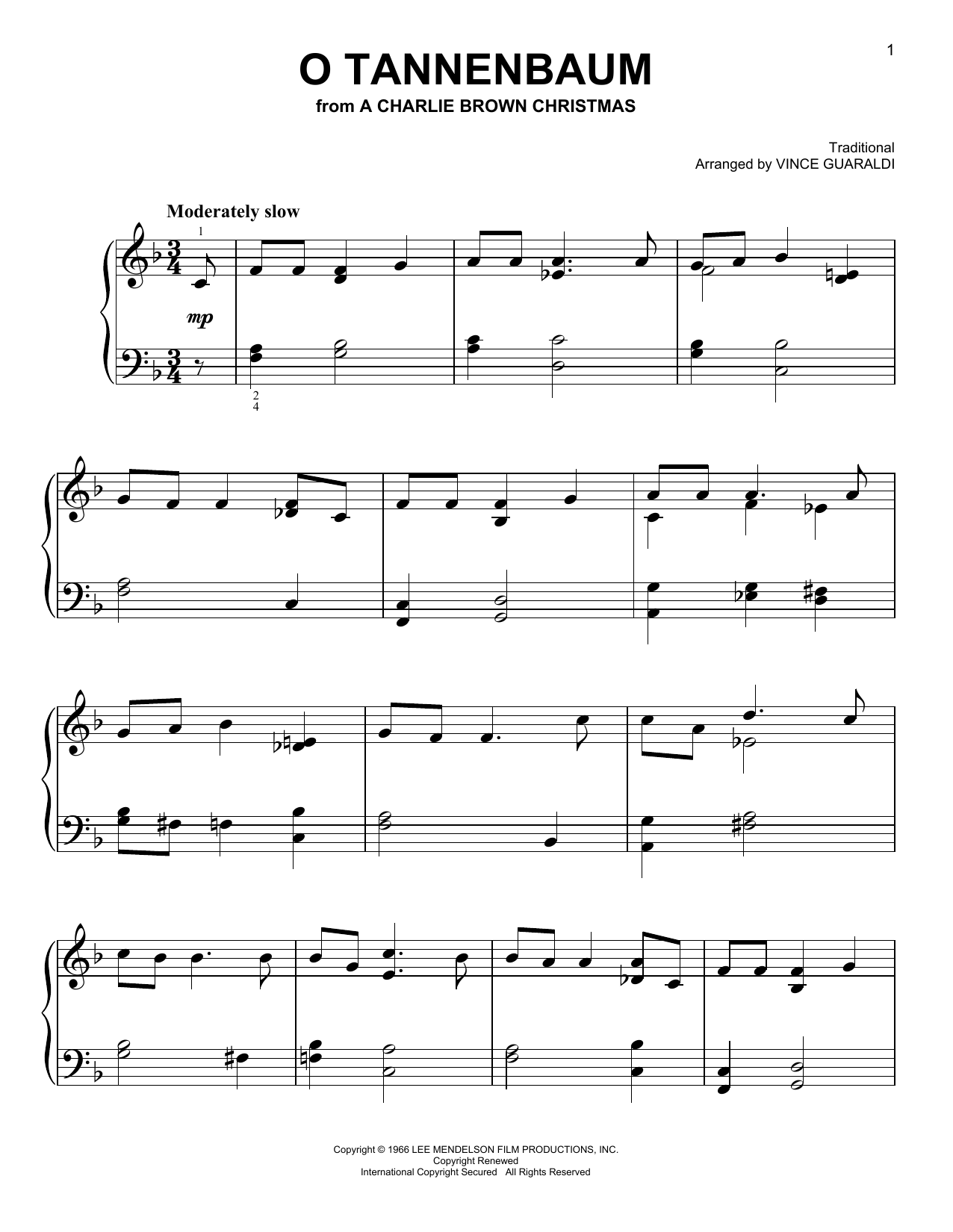 O tannenbaum sheet music