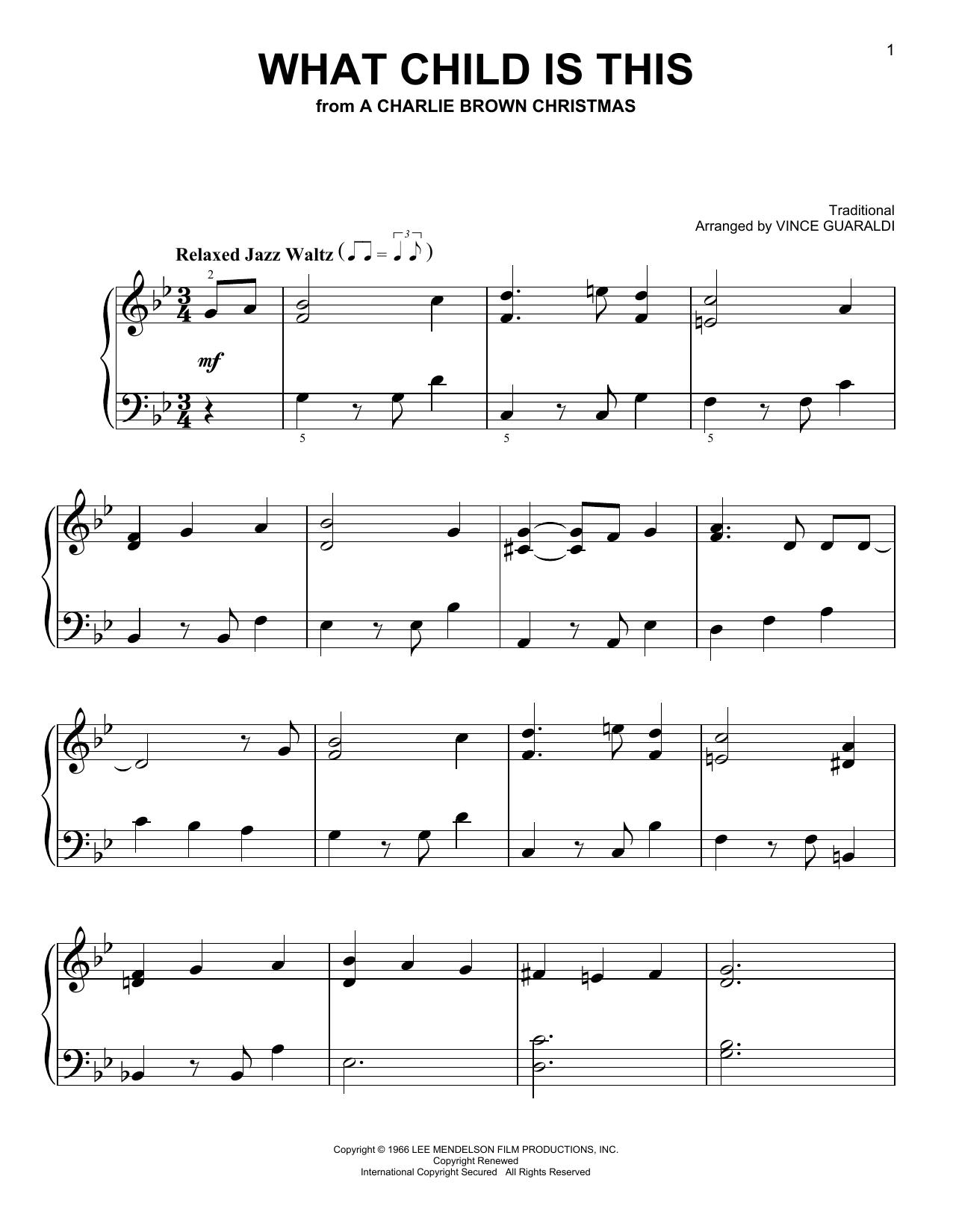 Partition piano What Child Is This de Vince Guaraldi - Piano Facile