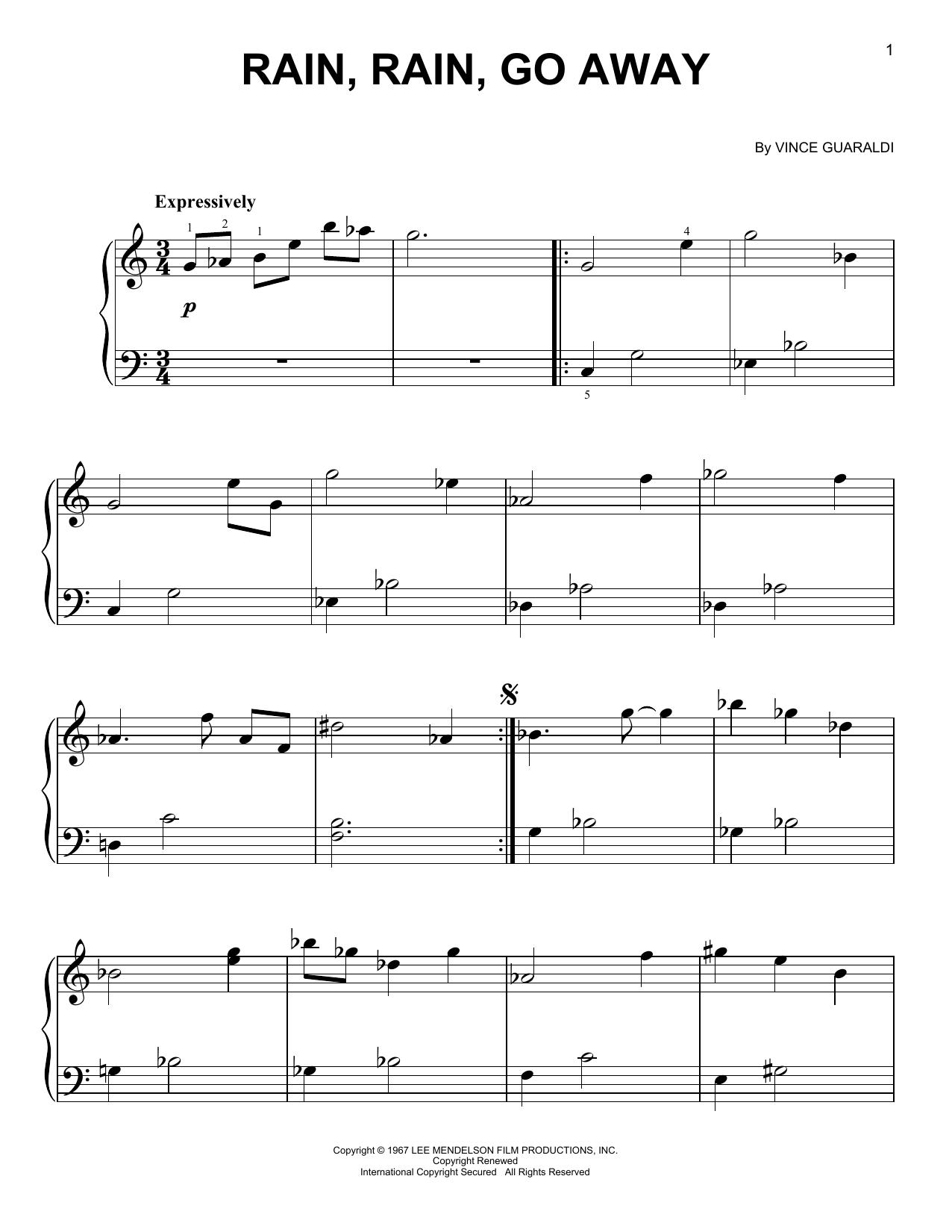 Partition piano Rain, Rain, Go Away de Vince Guaraldi - Piano Facile