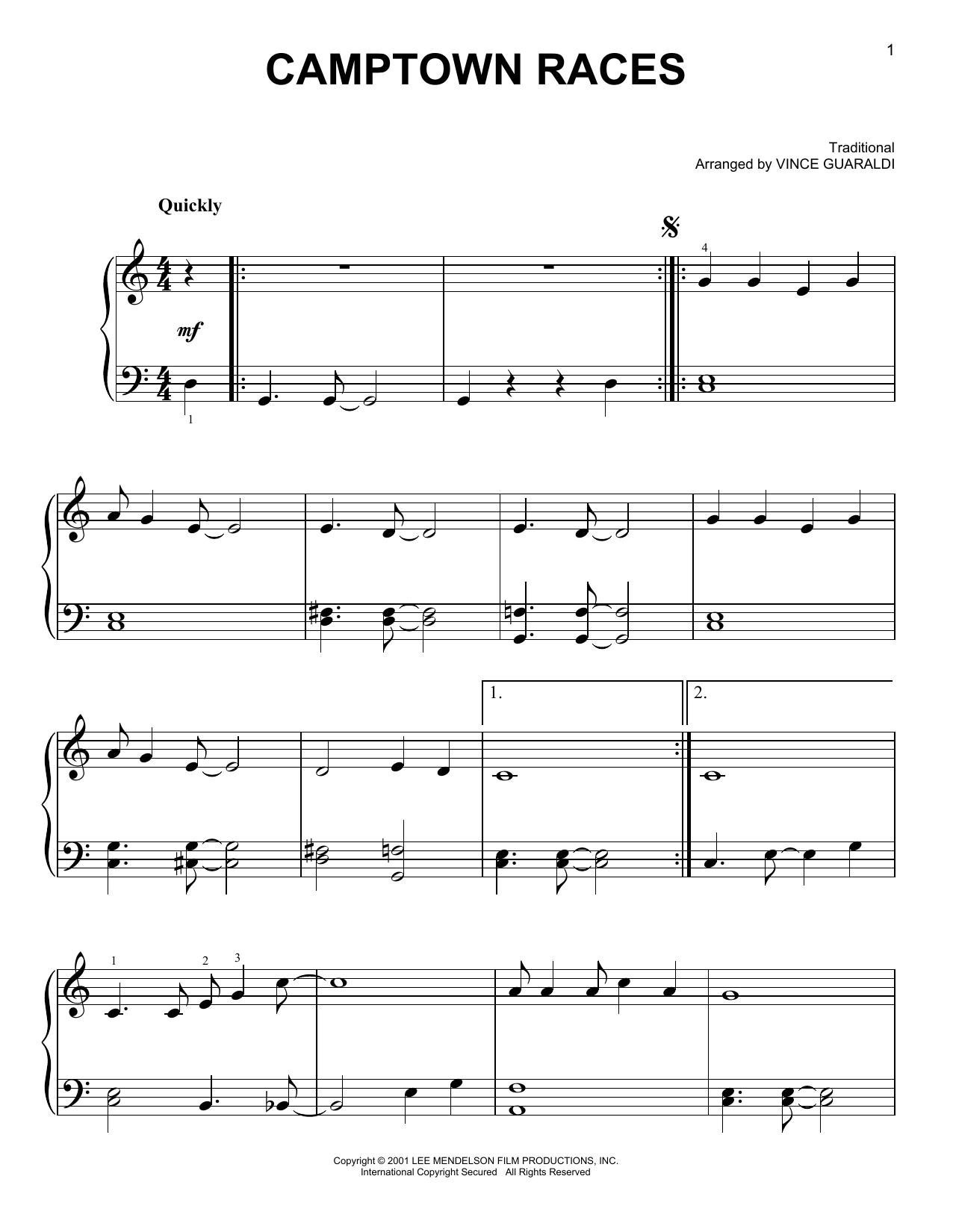 Partition piano Camptown Races de Vince Guaraldi - Piano Facile