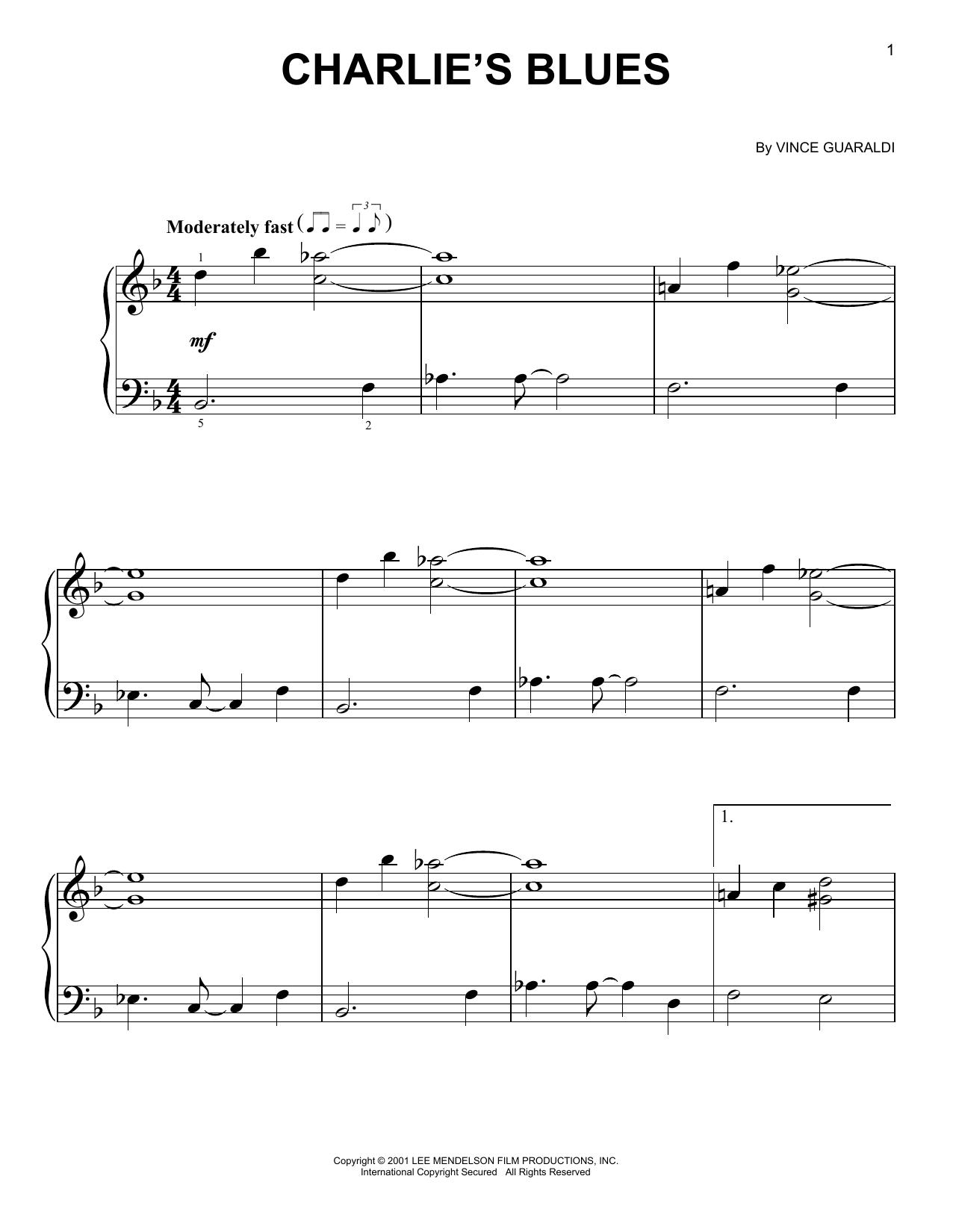 Partition piano Charlie's Blues de Vince Guaraldi - Piano Facile