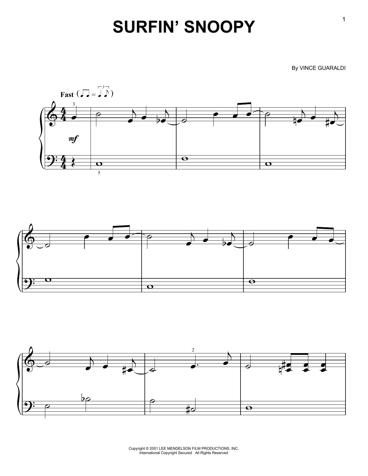 Partition piano Surfin' Snoopy de Vince Guaraldi - Piano Facile