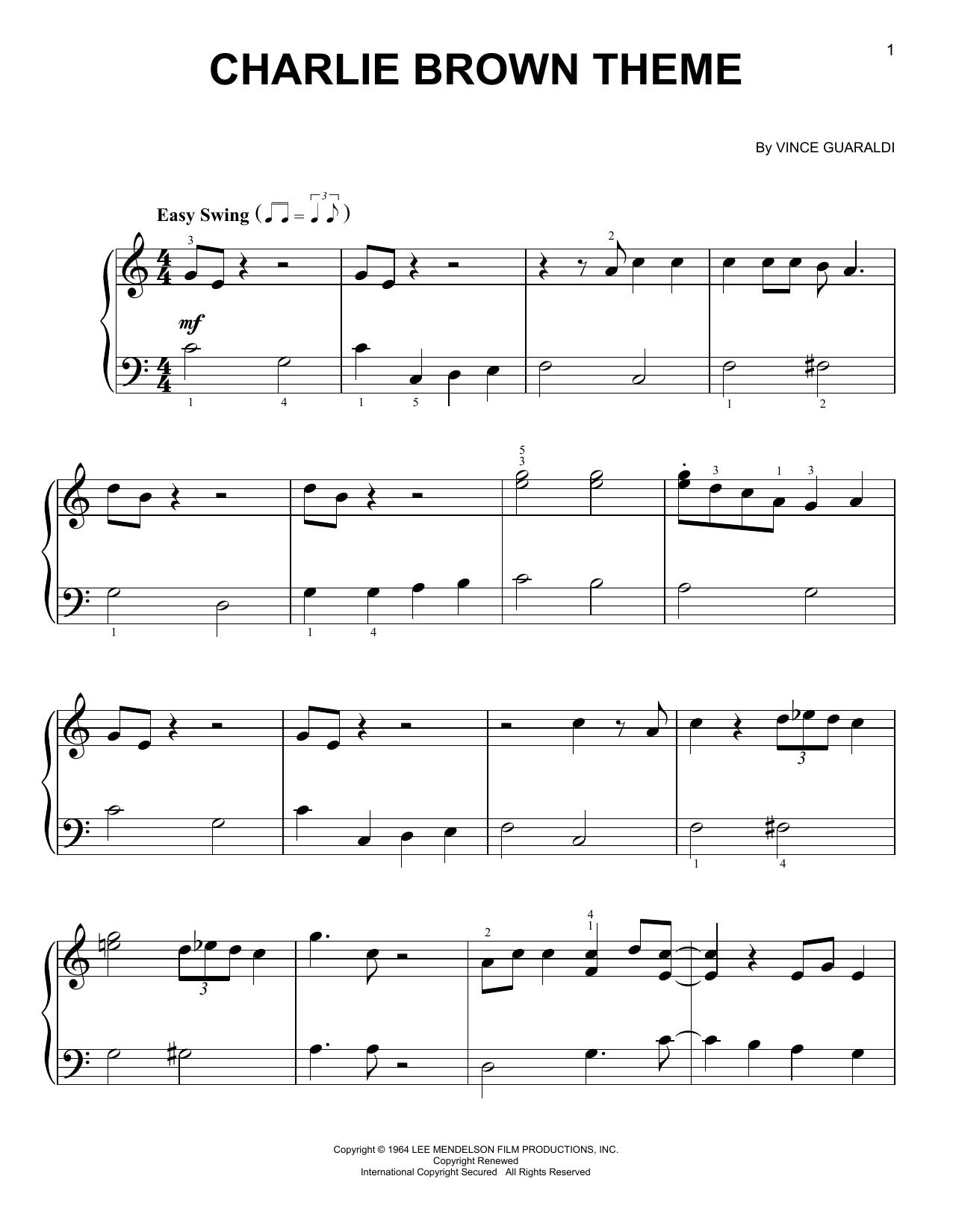 Partition piano Charlie Brown Theme de Vince Guaraldi - Piano Facile