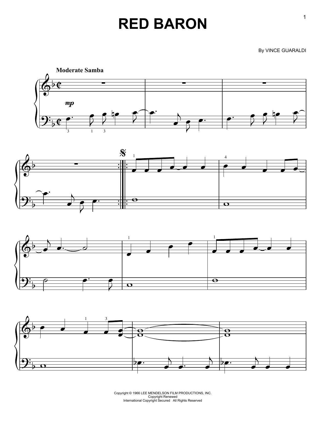 Partition piano Red Baron de Vince Guaraldi - Piano Facile