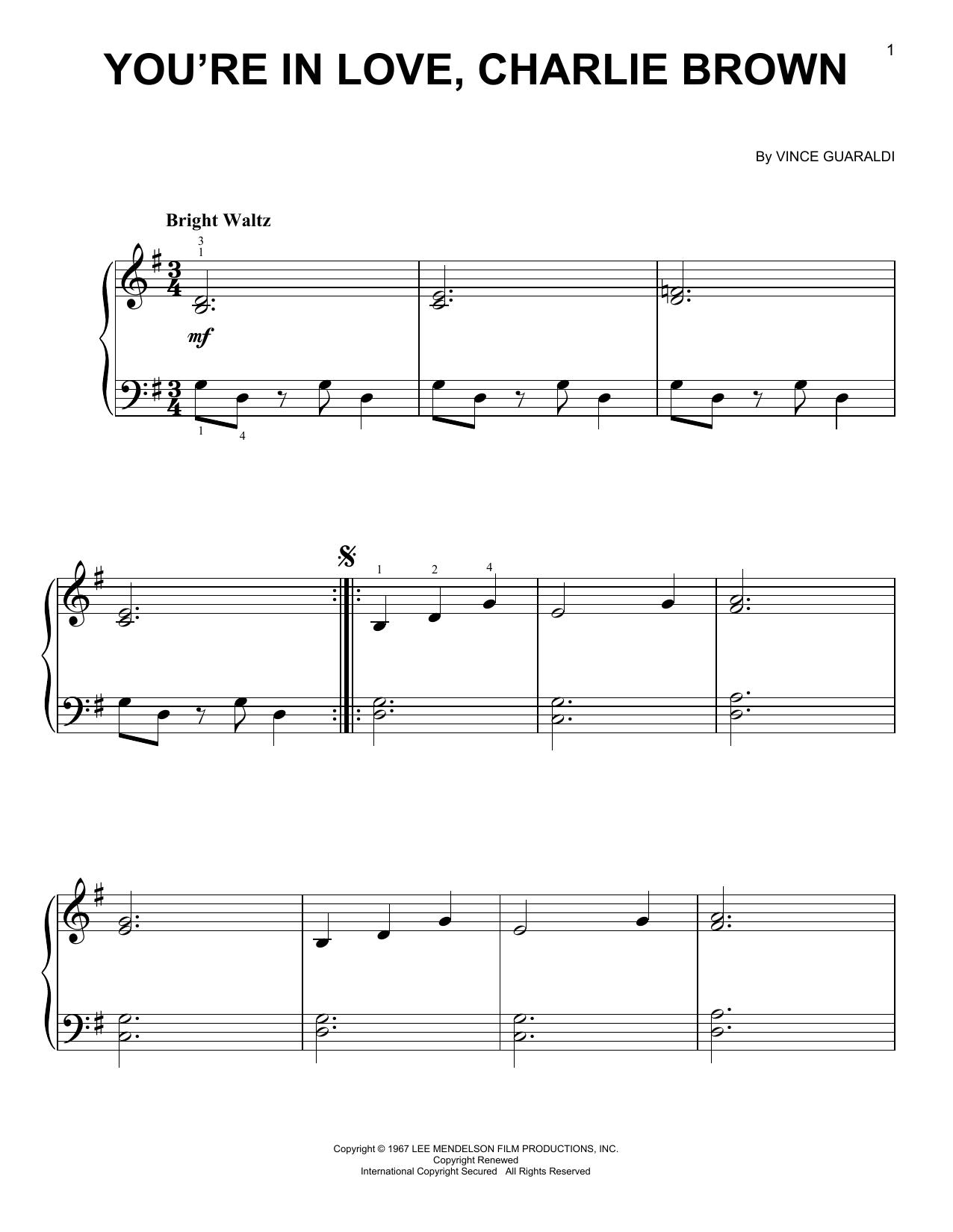 Partition piano You're In Love, Charlie Brown de Vince Guaraldi - Piano Facile