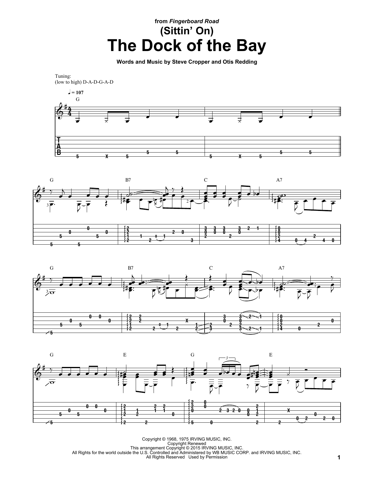 Tablature guitare (Sittin' On) The Dock Of The Bay de Otis Redding - Tablature Guitare