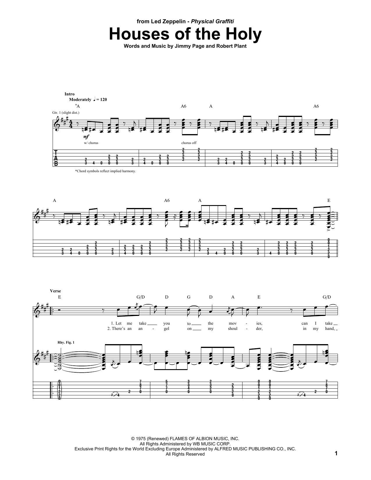 Tablature guitare Houses Of The Holy de Led Zeppelin - Tablature Guitare