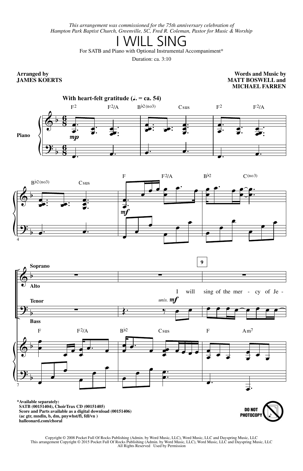 Partition chorale I Will Sing (arr. James Koerts) de  - SATB