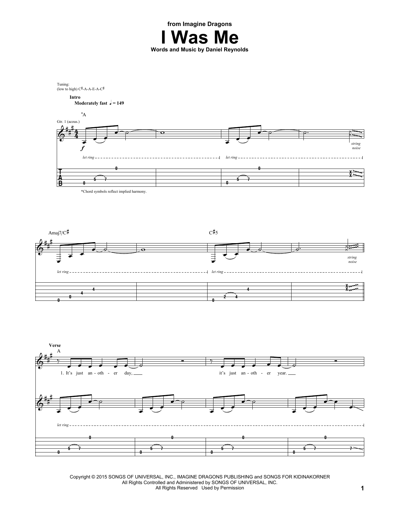 Tablature guitare I Was Me de Imagine Dragons - Tablature Guitare