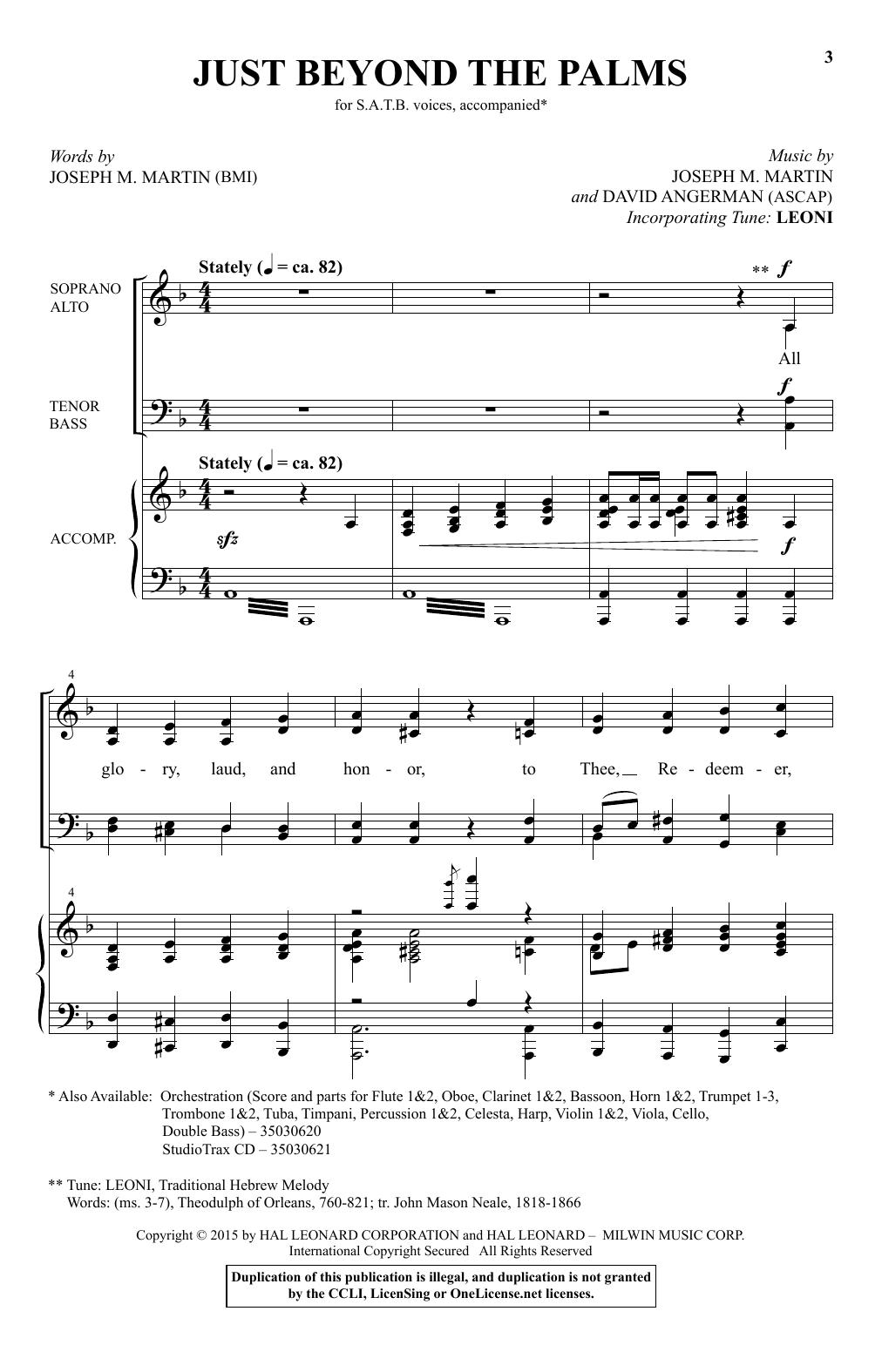 Partition chorale Just Beyond The Palms de Joseph M. Martin - SATB