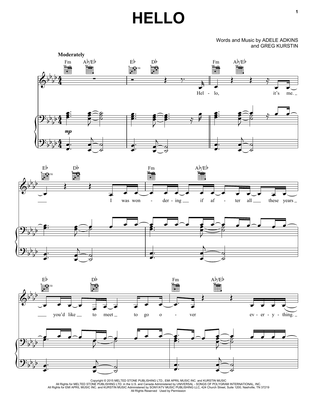 Hello sheet music by Adele (Piano, Vocal u0026 Guitar (Right-Hand Melody) u2013 162058)