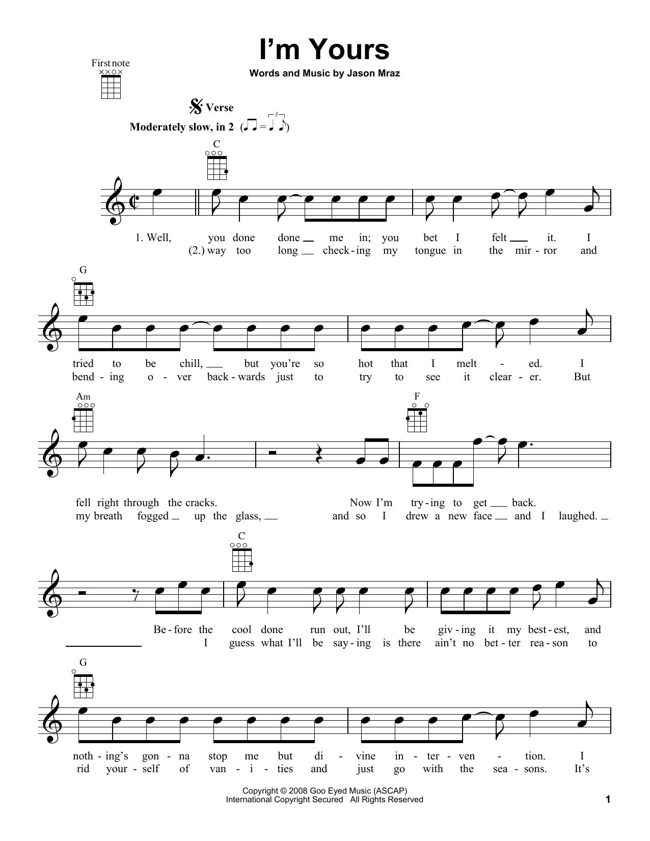 Tablature guitare I'm Yours de Jason Mraz - Ukulele