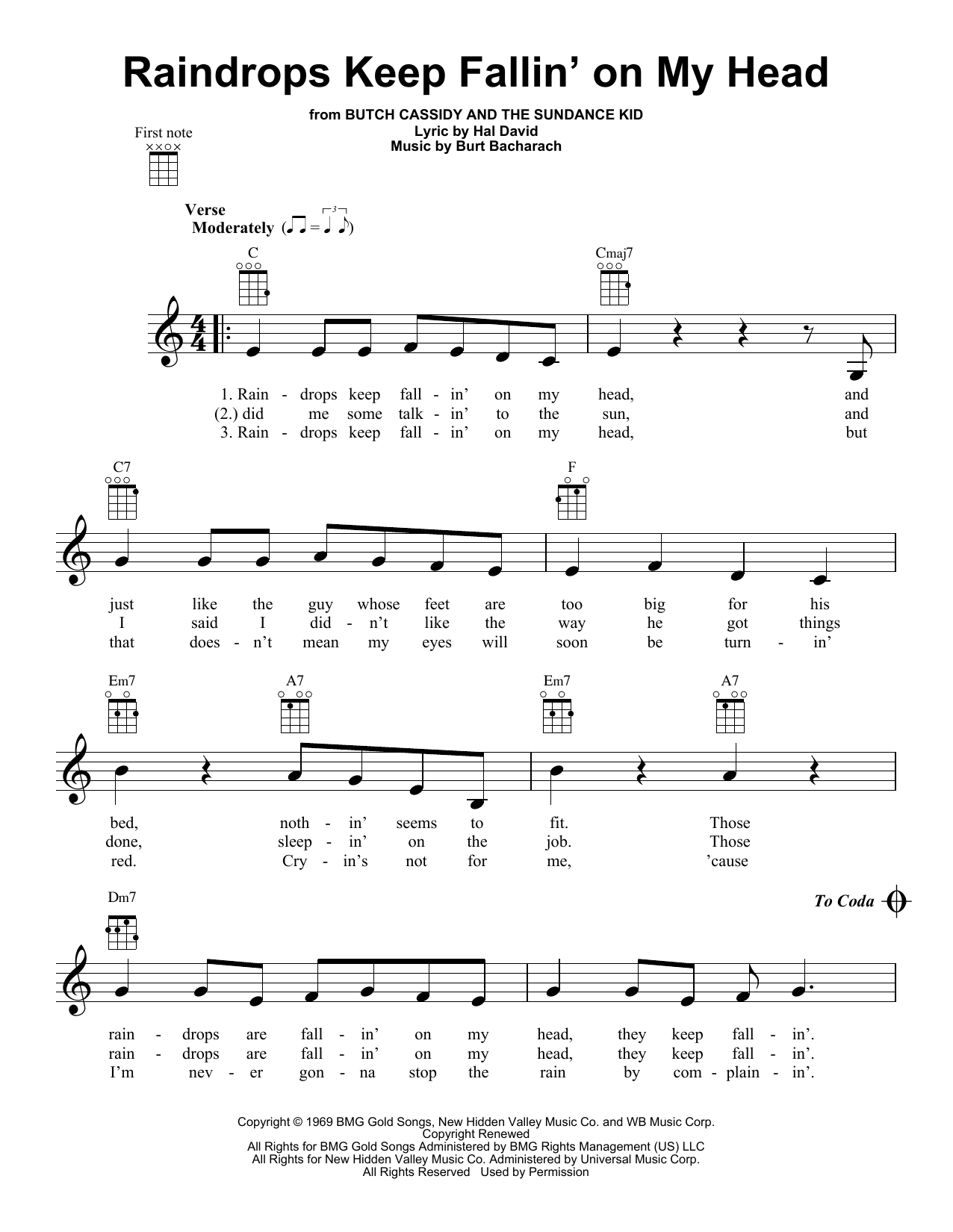Tablature guitare Raindrops Keep Fallin' On My Head de Bacharach & David - Ukulele