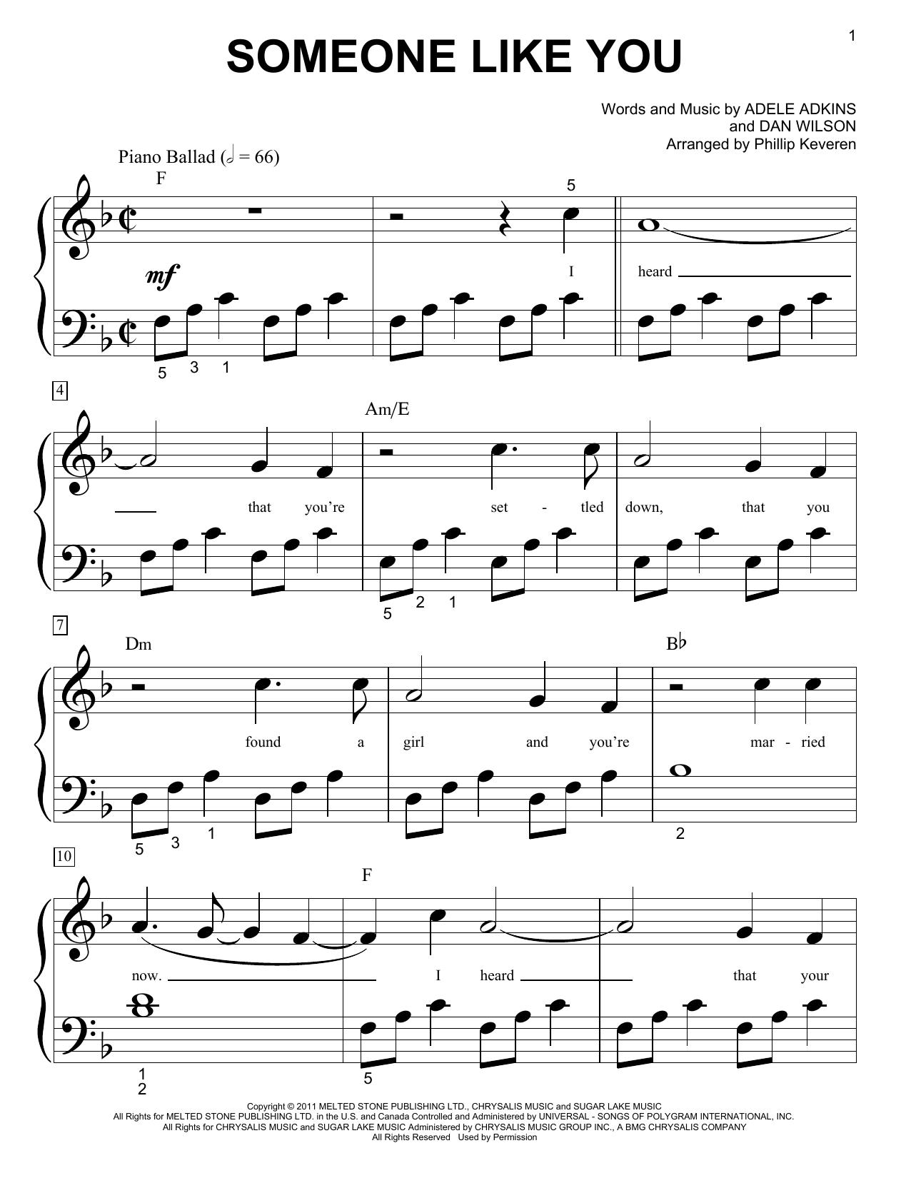 Partition piano Someone Like You de Phillip Keveren - Piano Facile