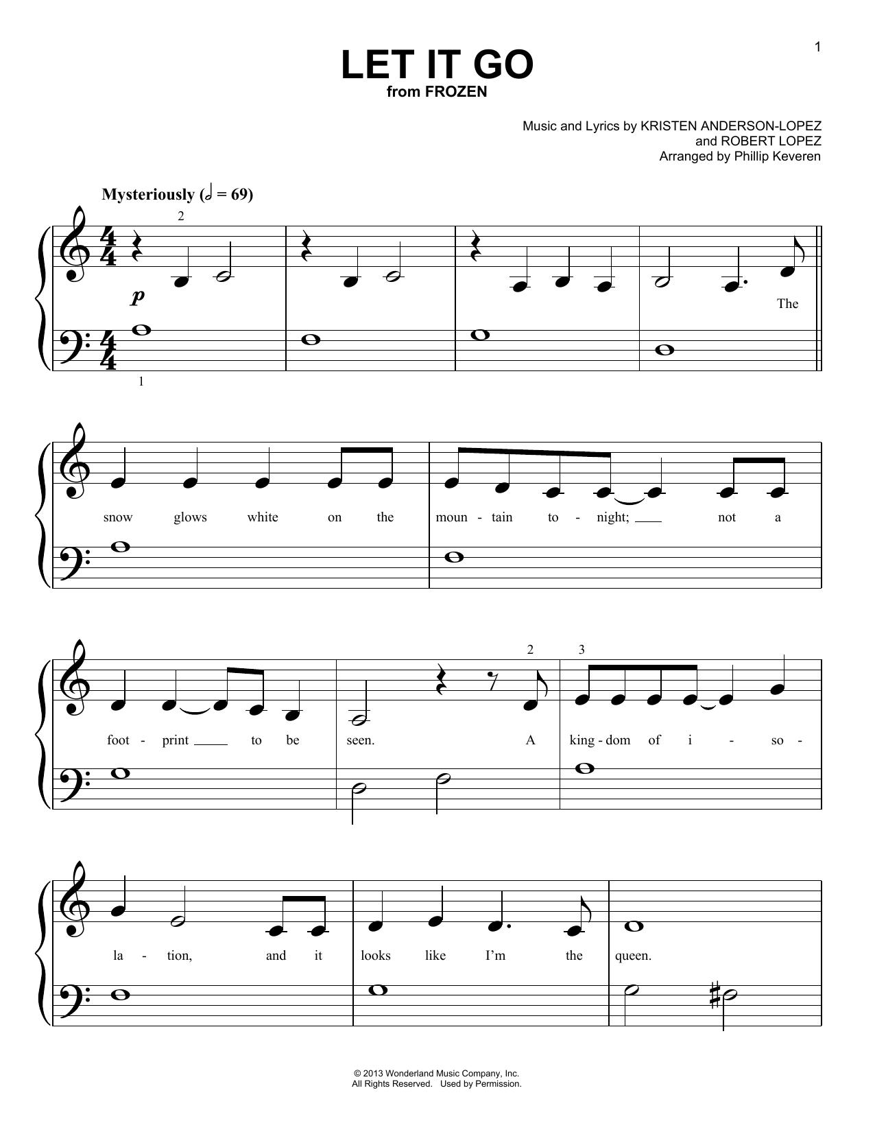 Partition piano Let It Go de Phillip Keveren - Piano Facile
