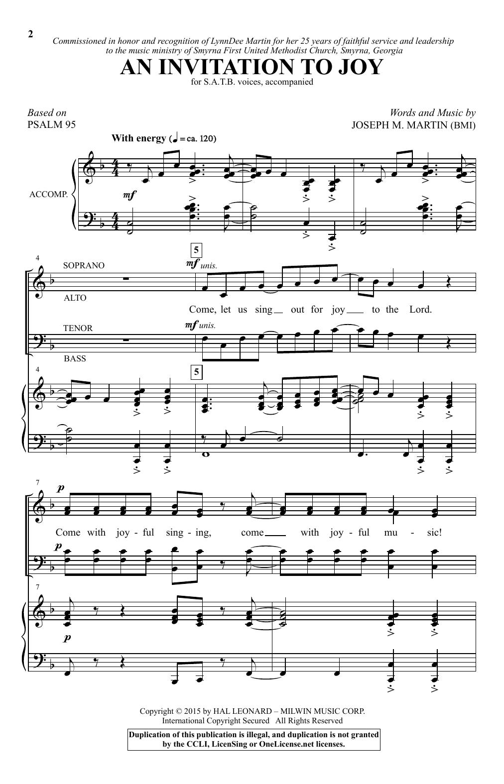 Partition chorale An Invitation To Joy de Joseph M. Martin - SATB