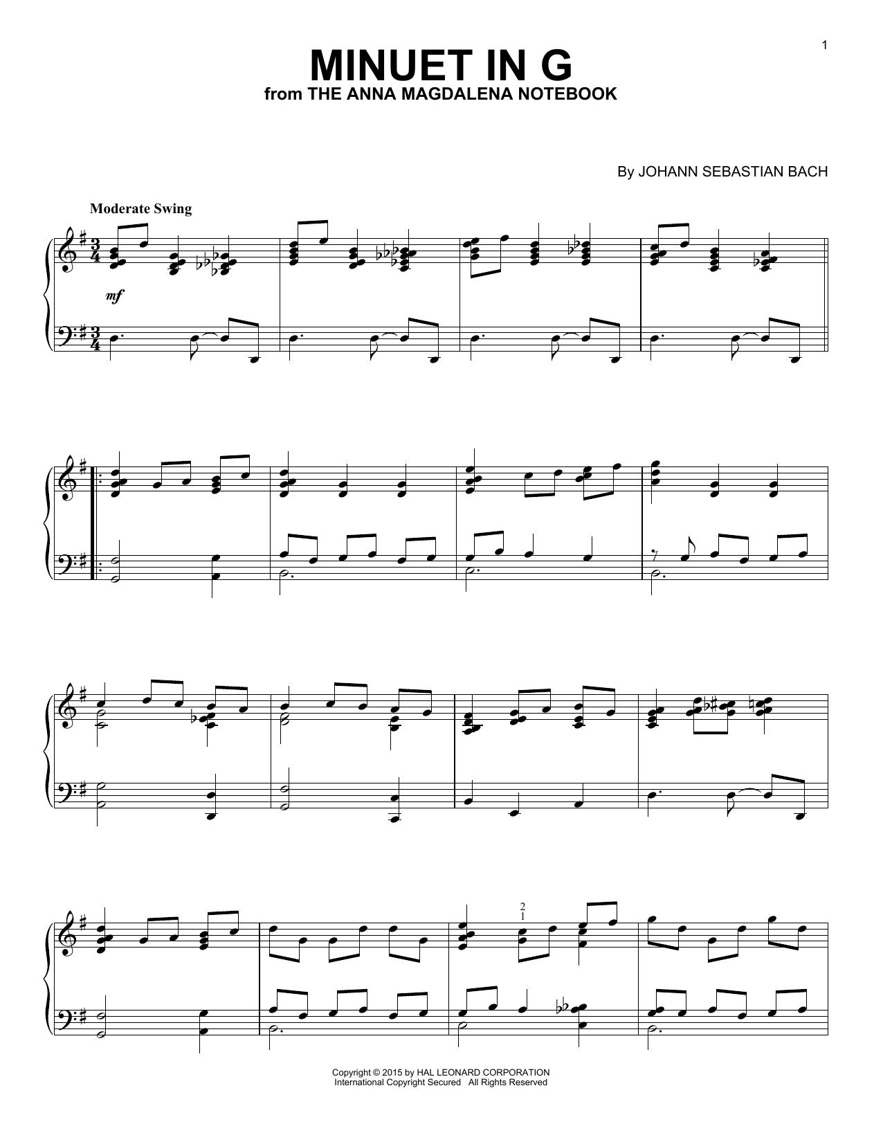 Partition piano Minuet In G de J.S. Bach - Piano Solo
