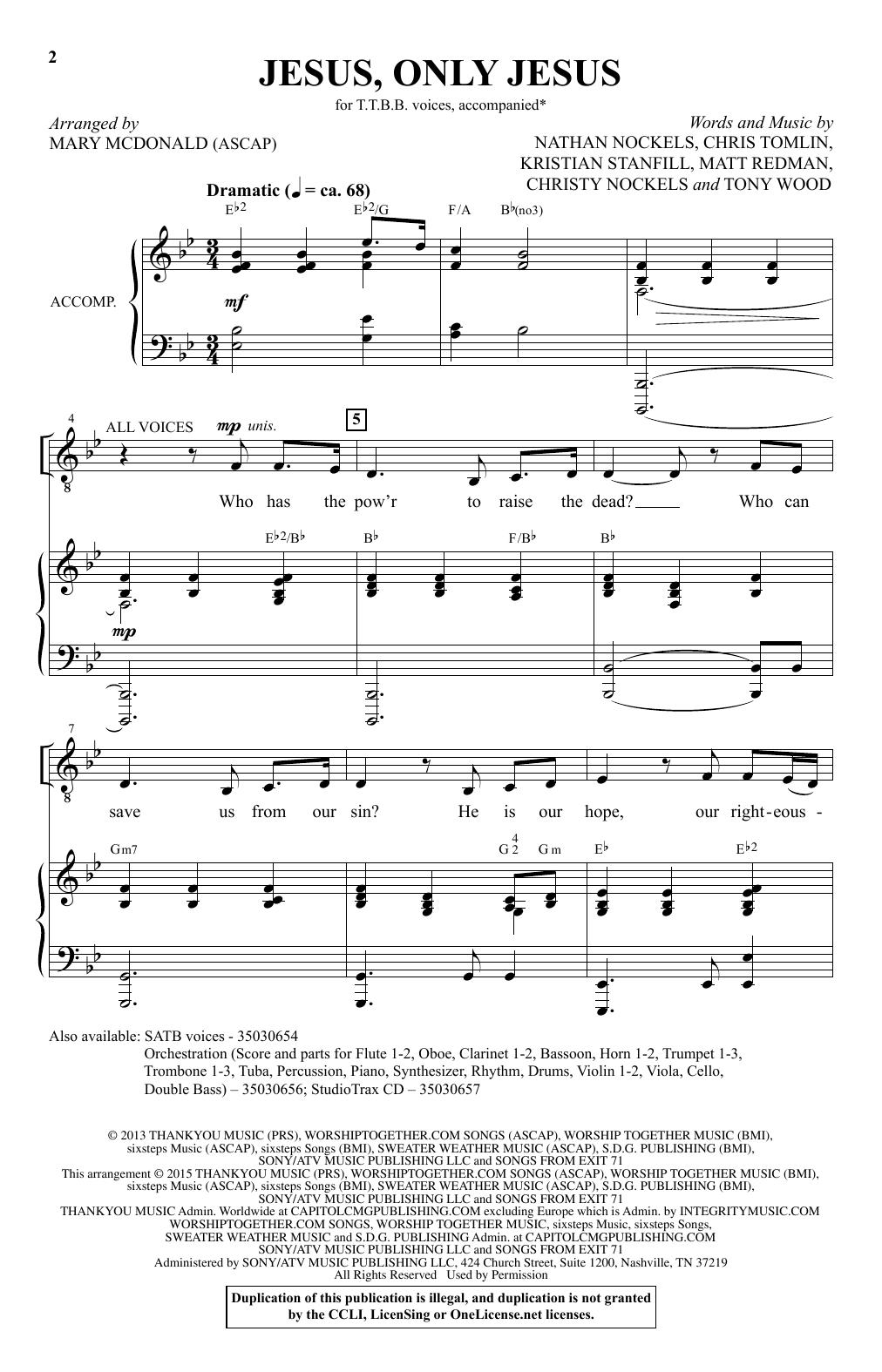 Partition chorale Jesus, Only Jesus de  - TTBB