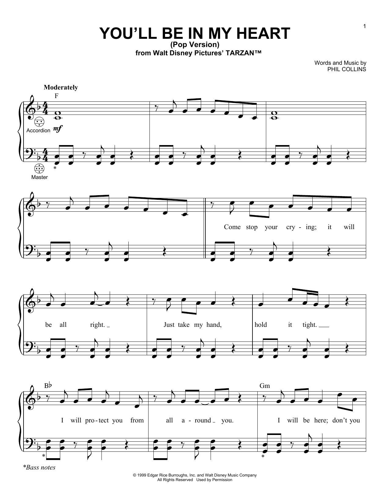 Partition autre You'll Be In My Heart (Pop Version) de Phil Collins - Accordeon