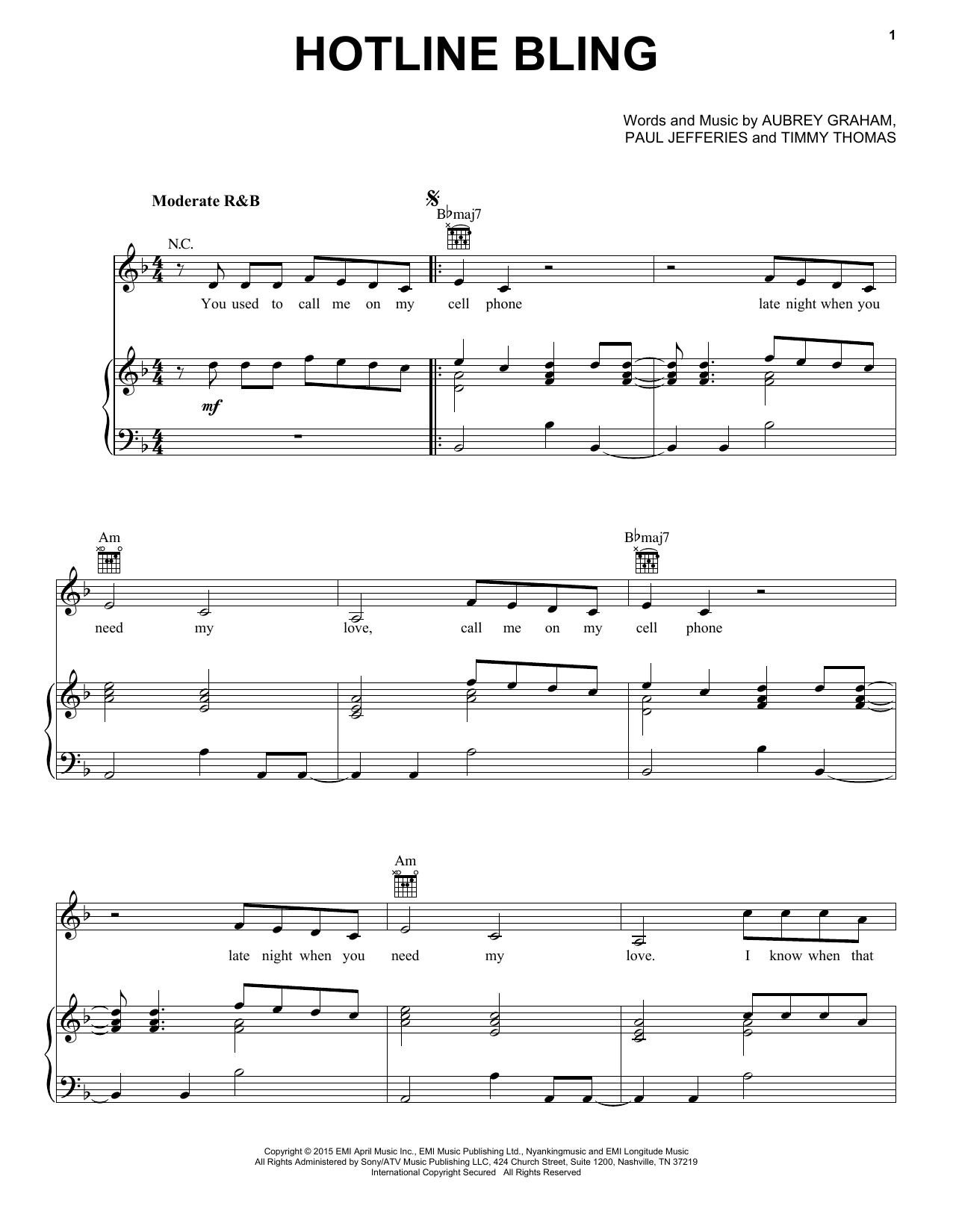 Partition piano Hotline Bling de Drake - Piano Voix Guitare (Mélodie Main Droite)