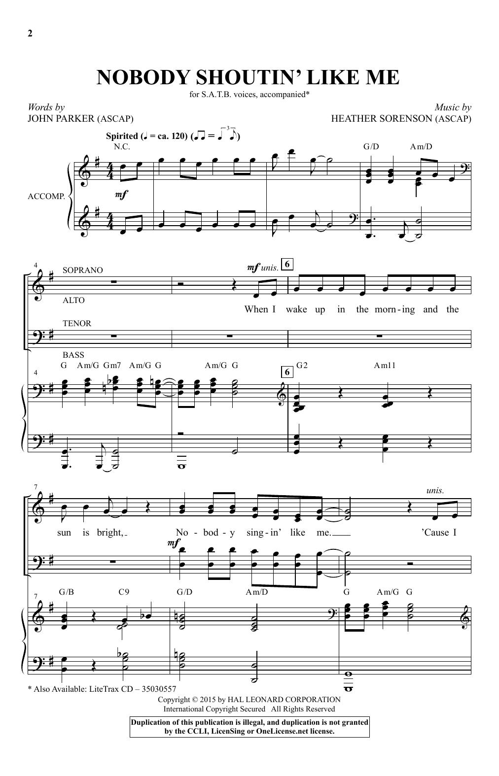 Partition chorale Nobody Shoutin' Like Me de Heather Sorenson - SATB