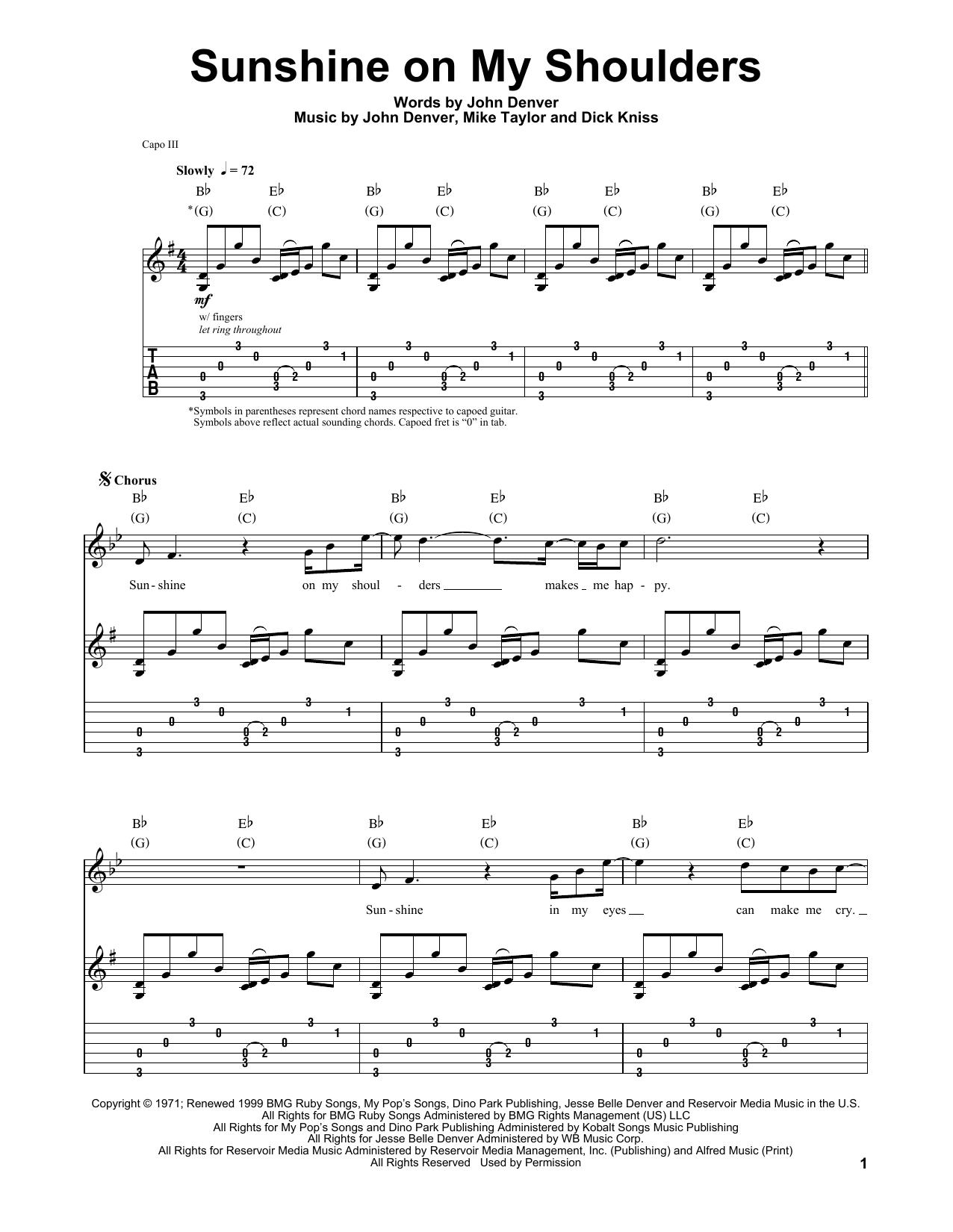 Tablature guitare Sunshine On My Shoulders de John Denver - Tablature Guitare