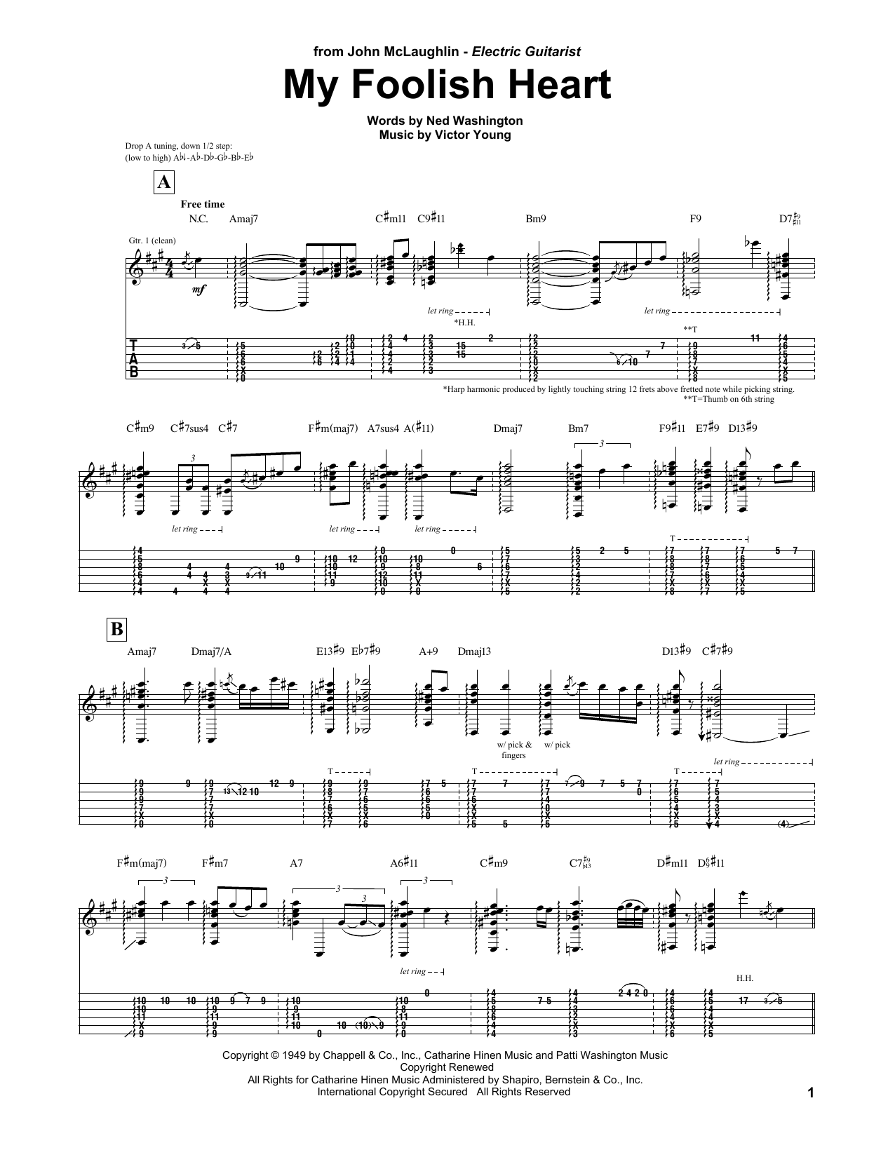 Tablature guitare My Foolish Heart de John McLaughlin - Tablature Guitare