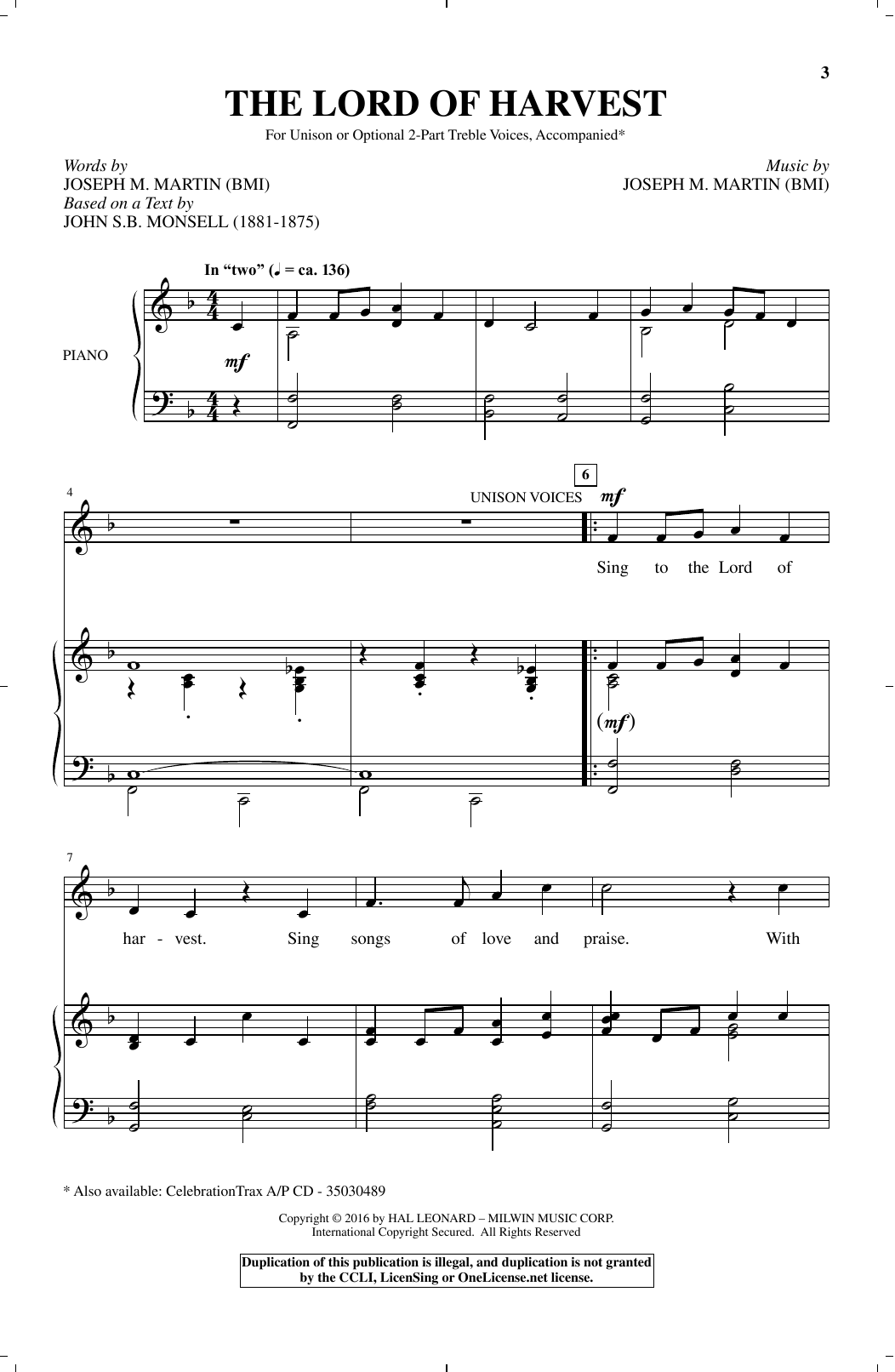 Partition chorale The Lord Of Harvest de Joseph M. Martin - Unisson