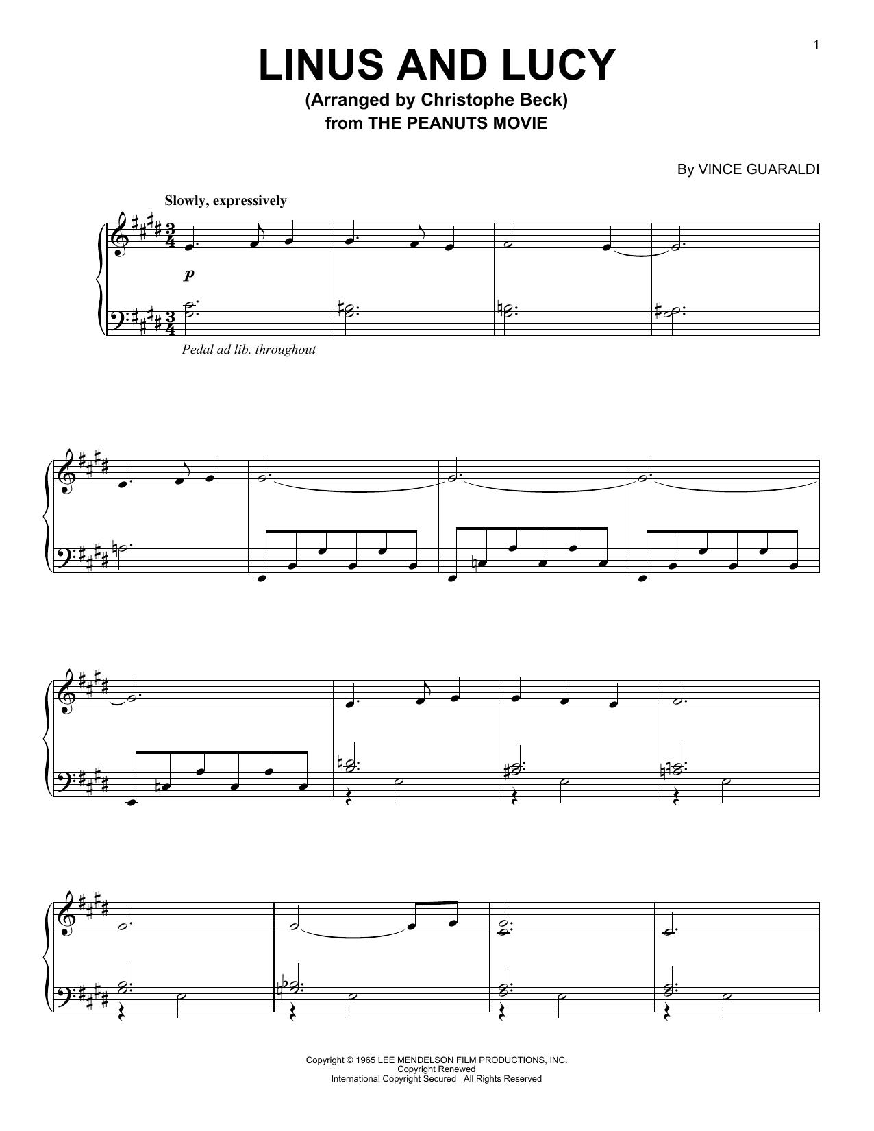 Partition piano Linus And Lucy de Vince Guaraldi - Piano Solo