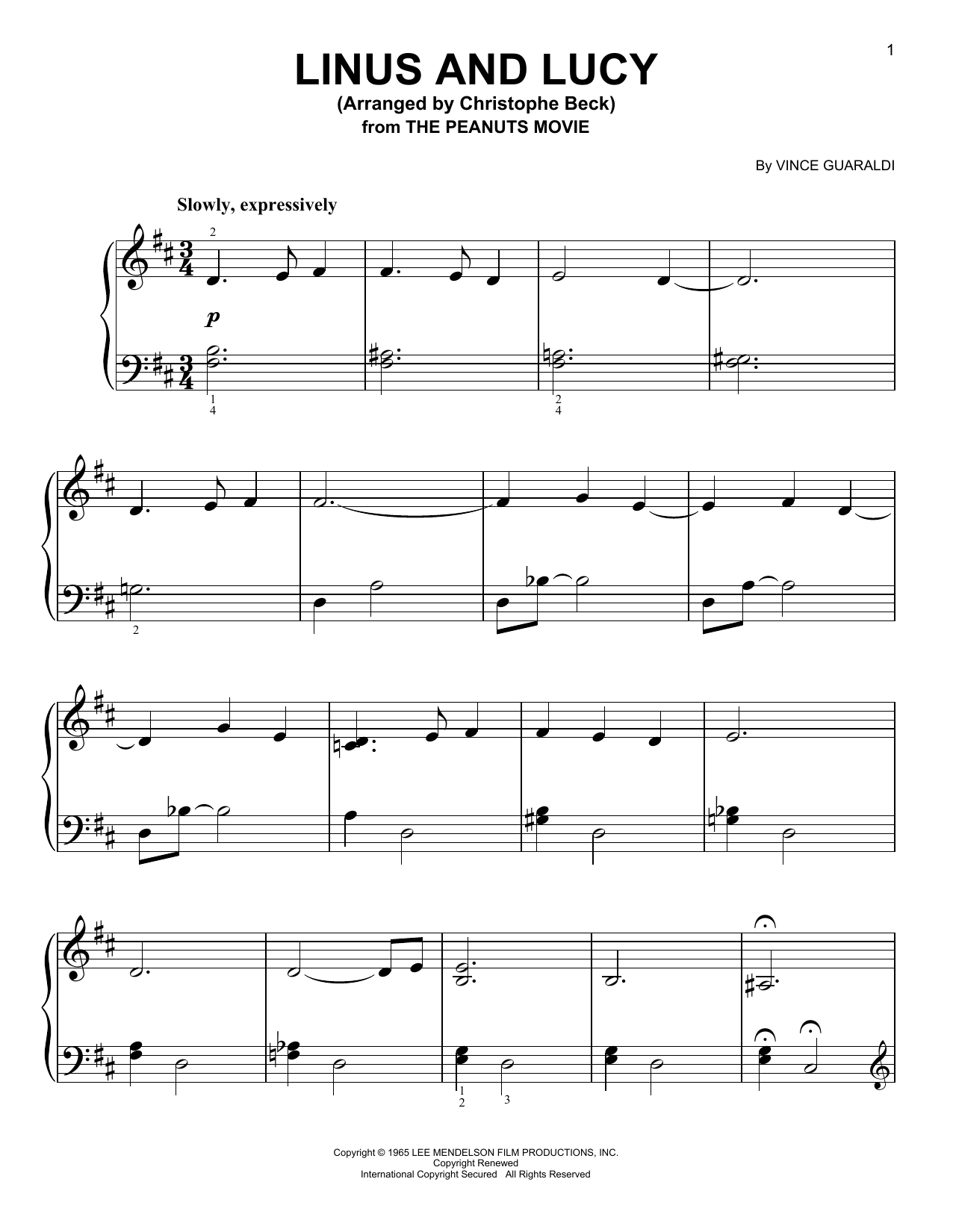 Partition piano Linus And Lucy de Vince Guaraldi - Piano Facile