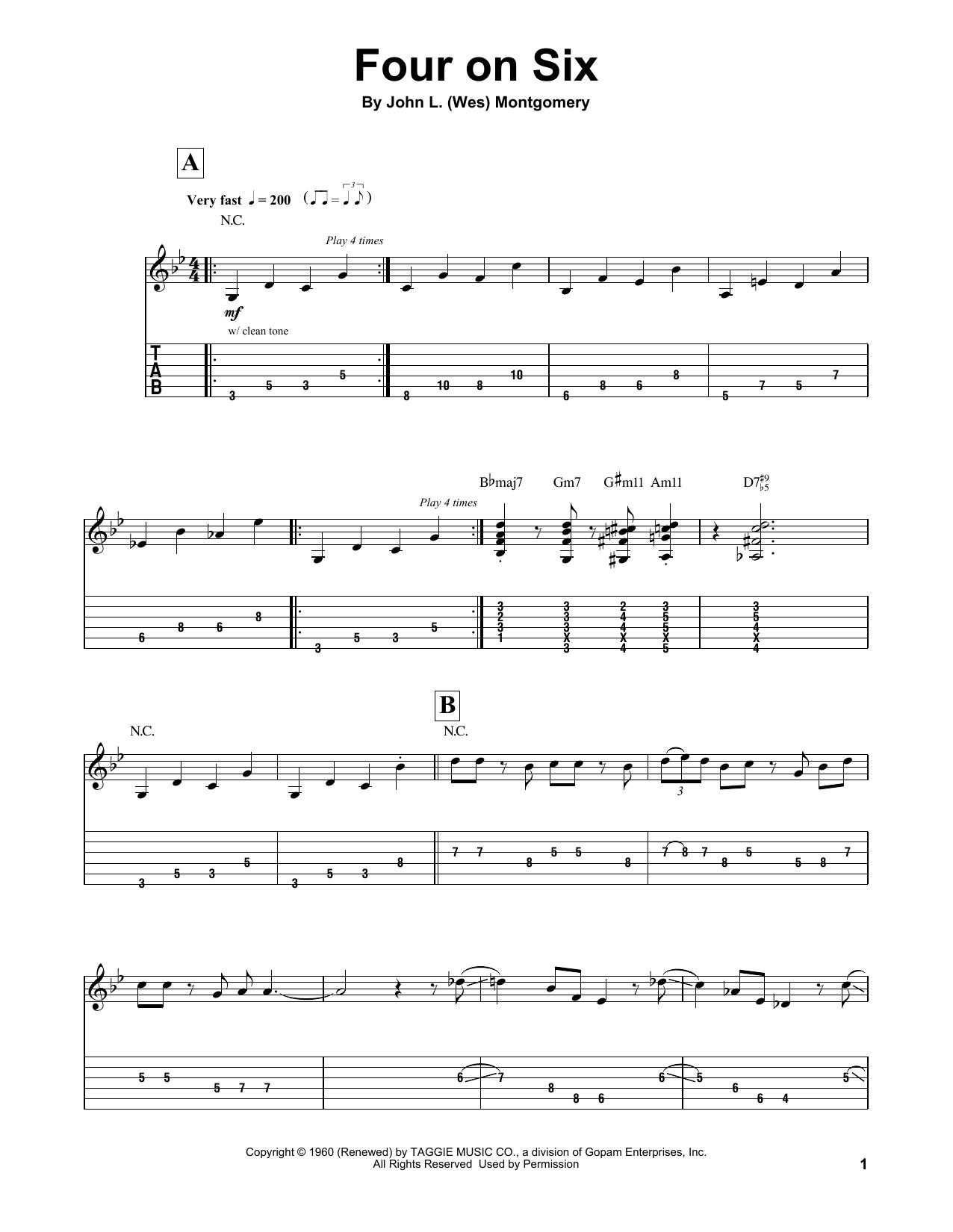 Tablature guitare Four On Six de Wes Montgomery - Tablature Guitare