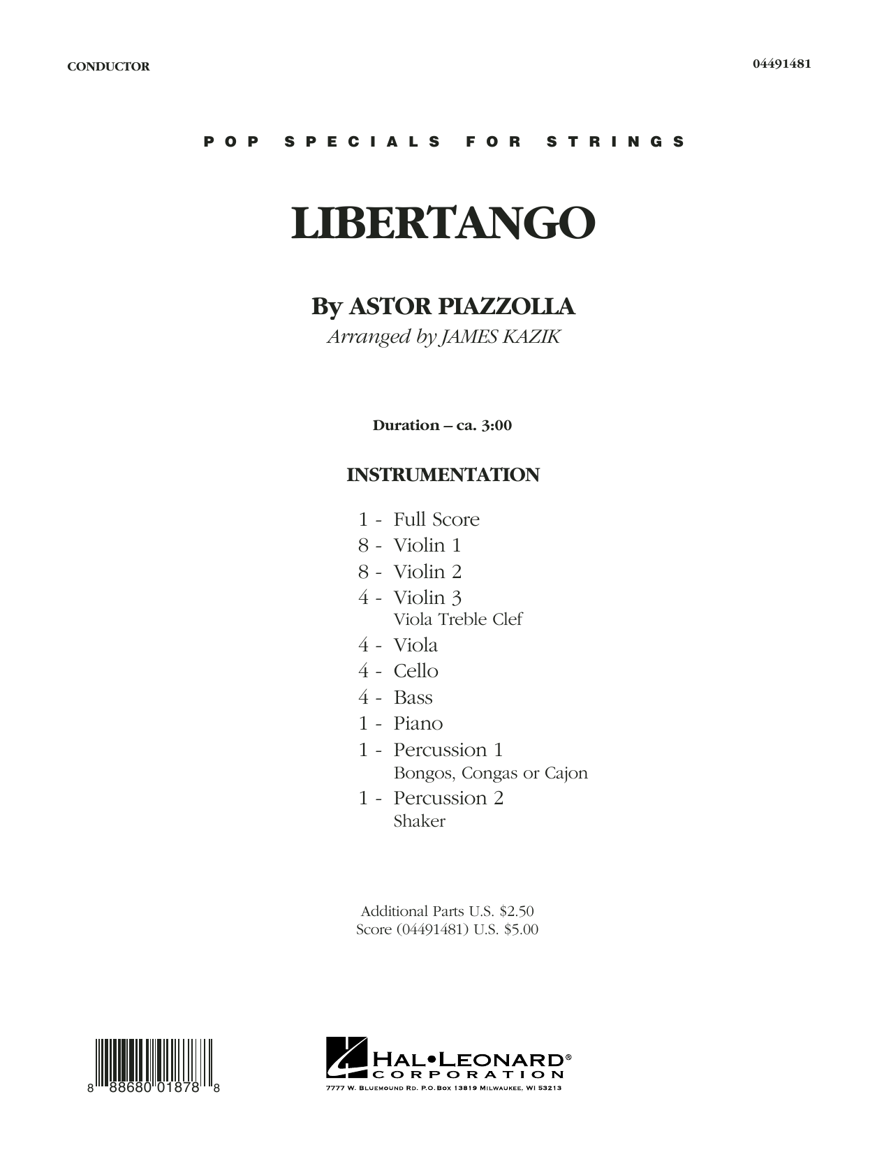 Libertango (COMPLETE) sheet music for orchestra by James Kazik