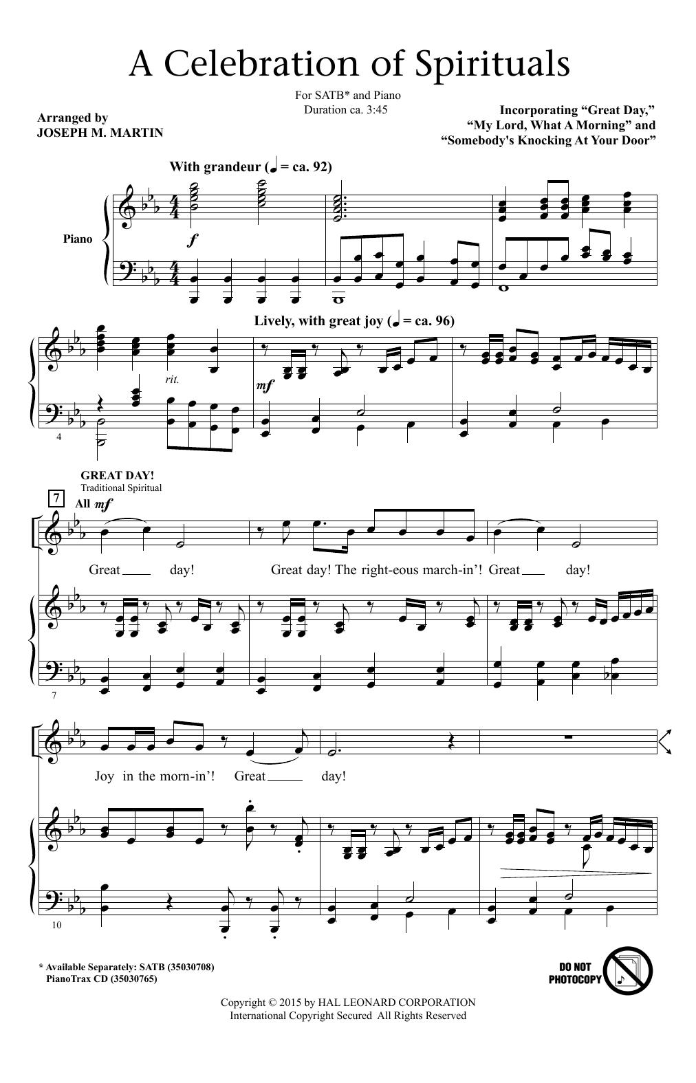 Partition chorale A Celebration Of Spirituals de Joseph M. Martin - SATB