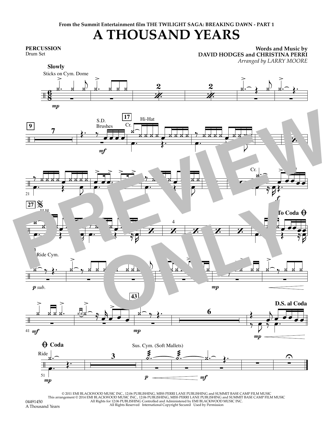 A thousand years percussion sheet music at stantons sheet music hexwebz Image collections