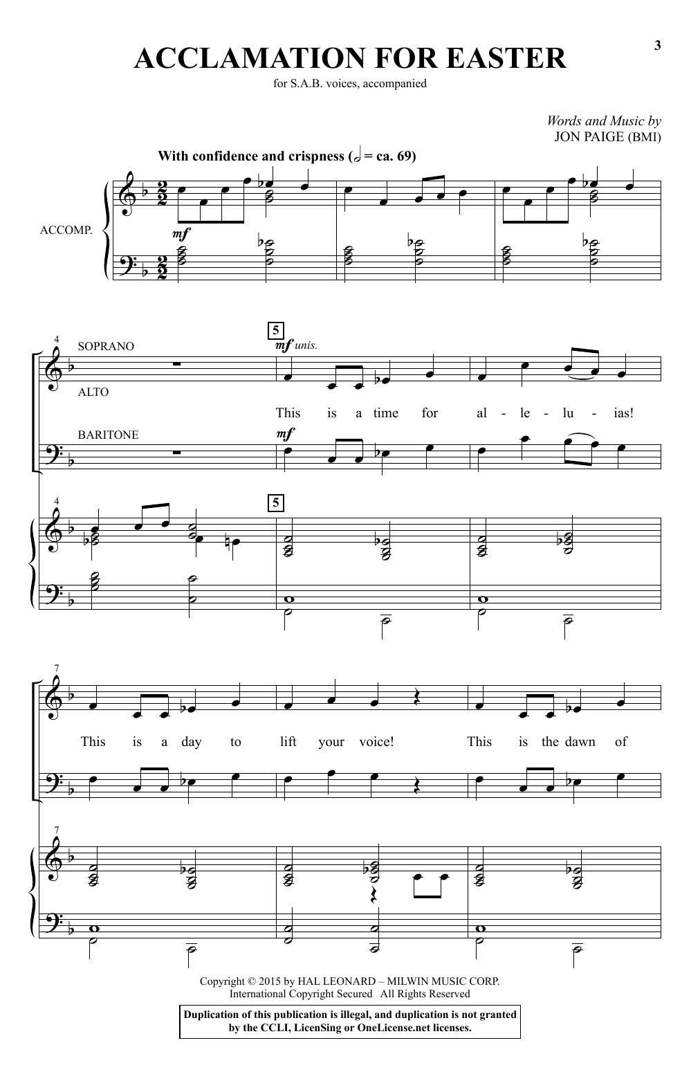 Partition chorale Acclamation For Easter de Jon Paige - SAB