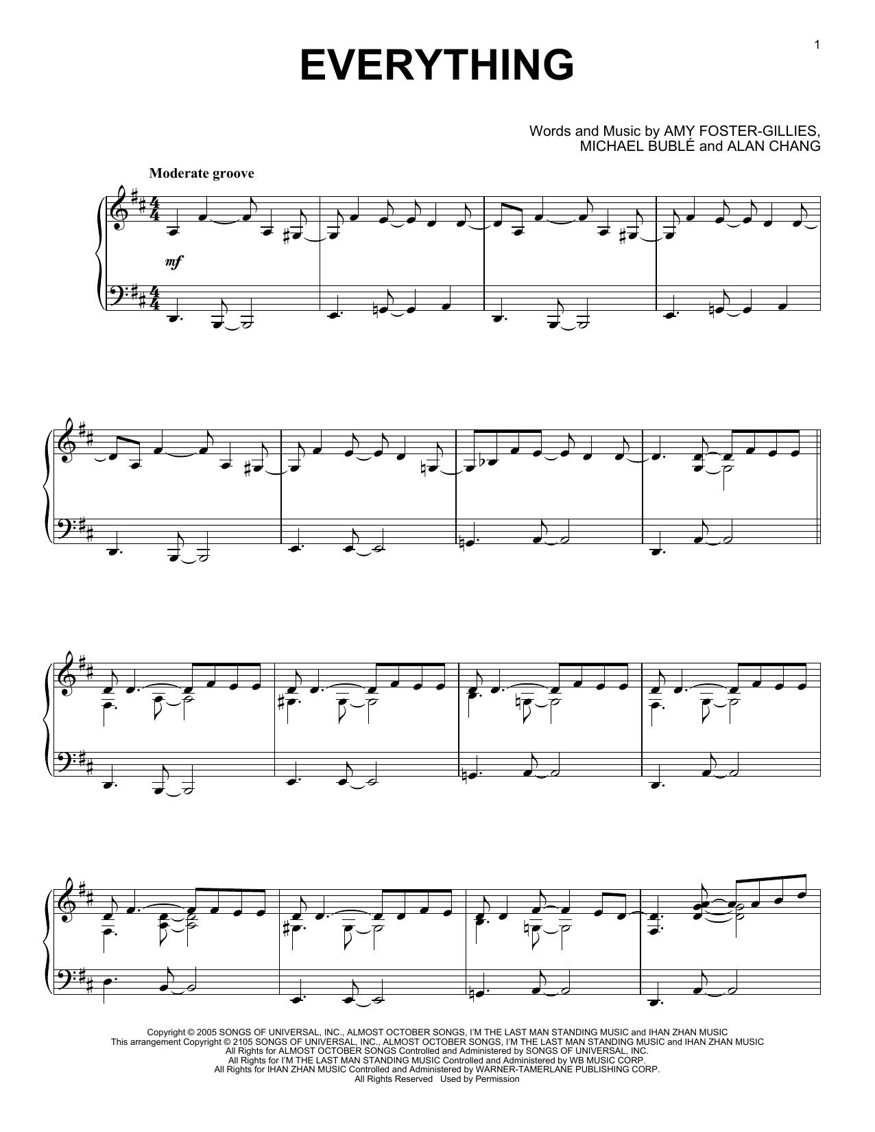 Partition piano Everything de Michael Buble - Piano Solo