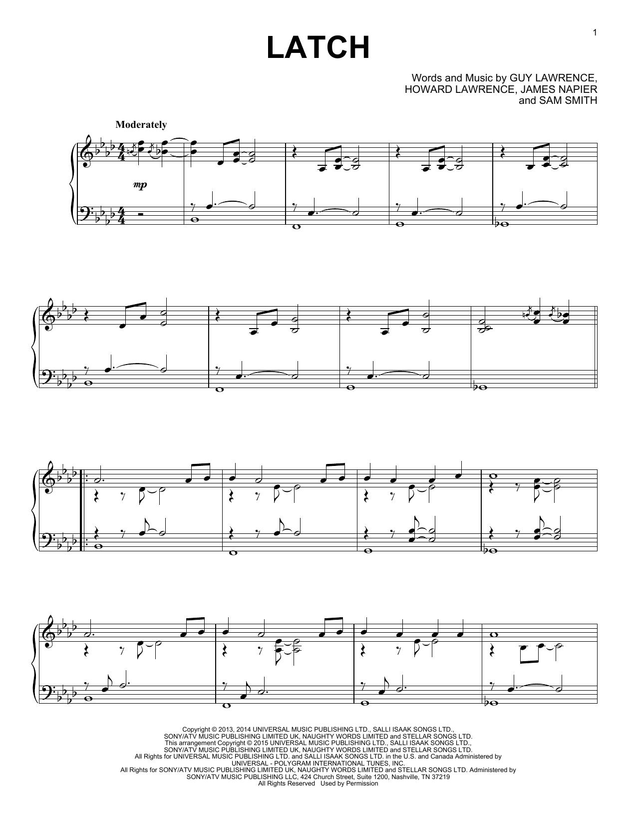 Partition piano Latch de Disclosure feat. Sam Smith - Piano Solo